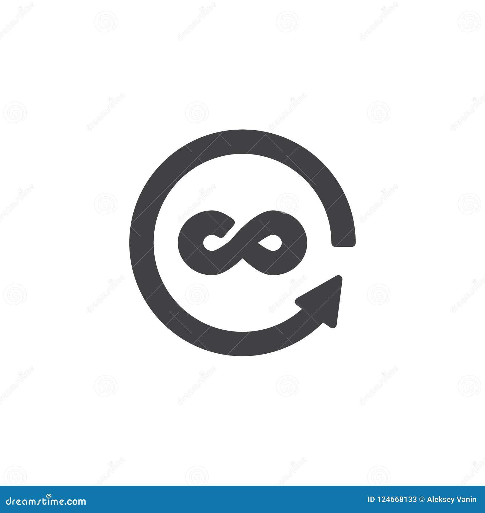 Infinity And Circular Arrows Vector Icon Stock Vector