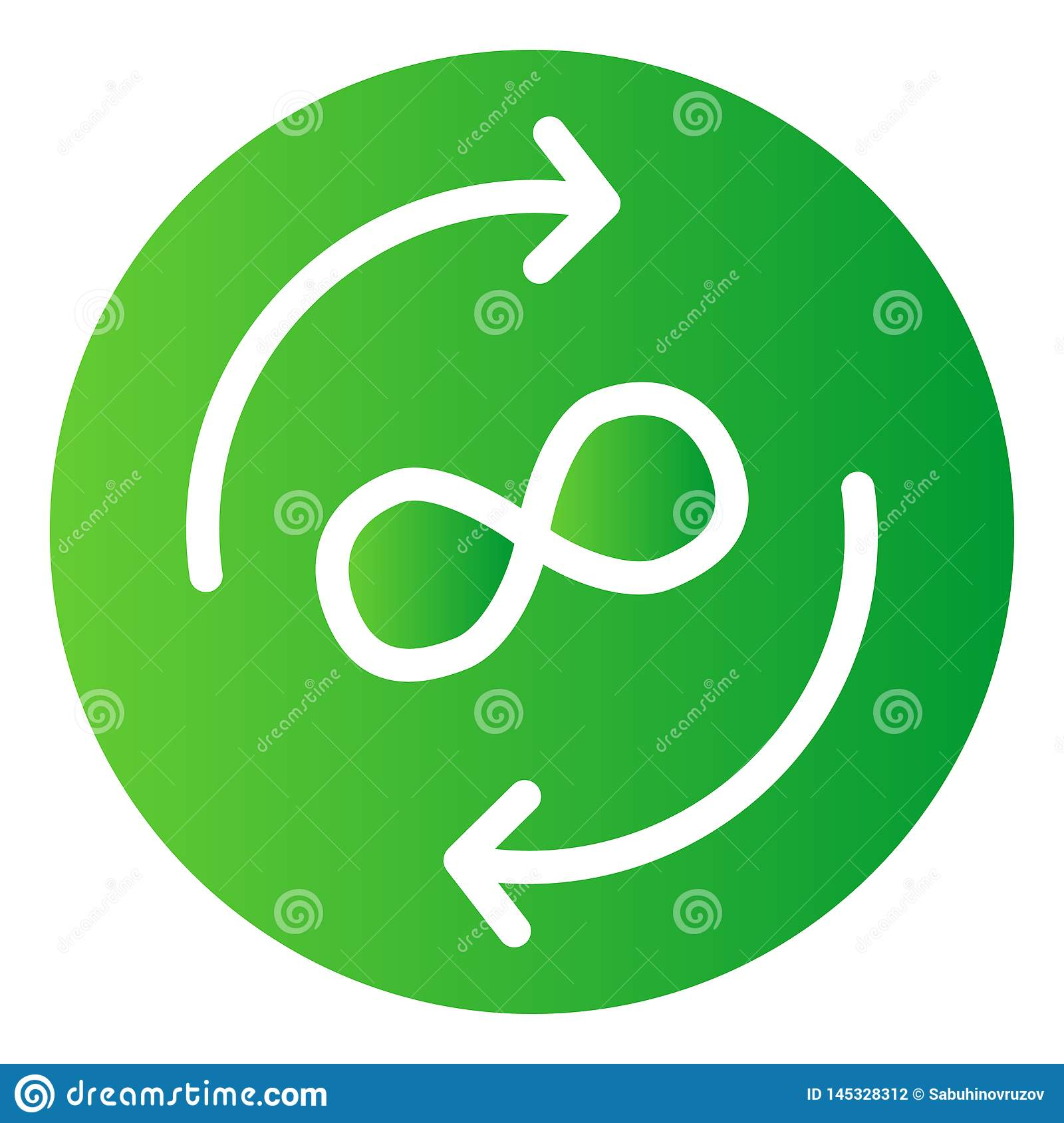 Infinity exchange flat icon. Circle arrows color icons in trendy flat style. Arrows and infinity symbol gradient style