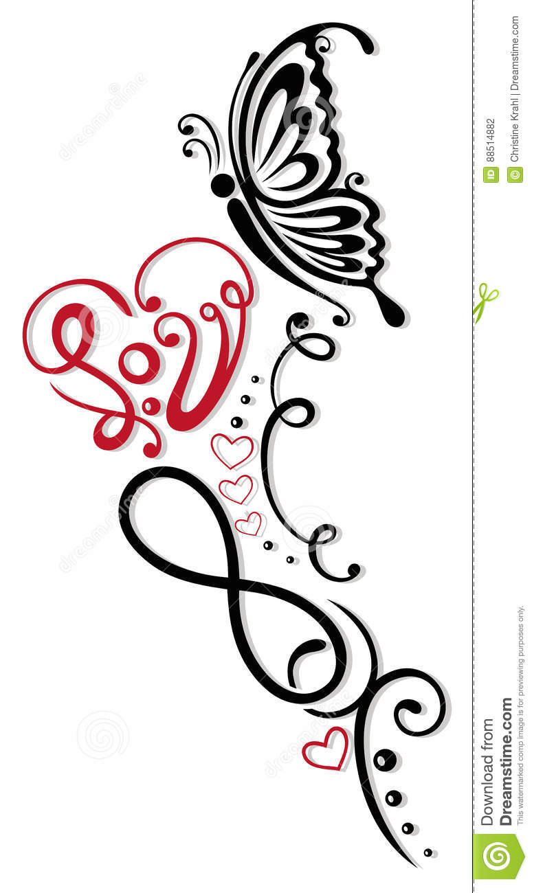 Infinity Heart Butterfly Stock Vector Illustration Of Infinity
