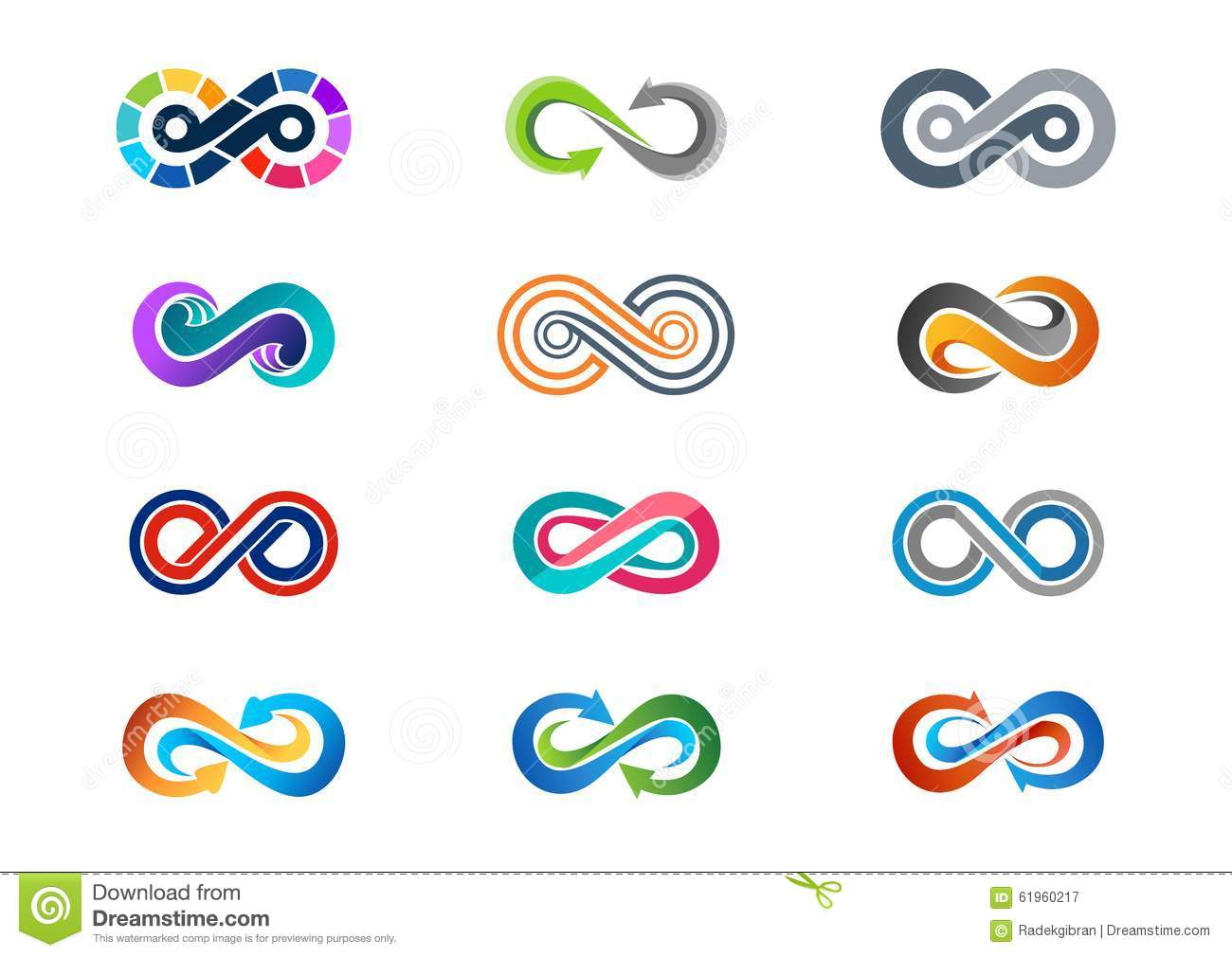 infinity logo symbol modern abstract infinity set of