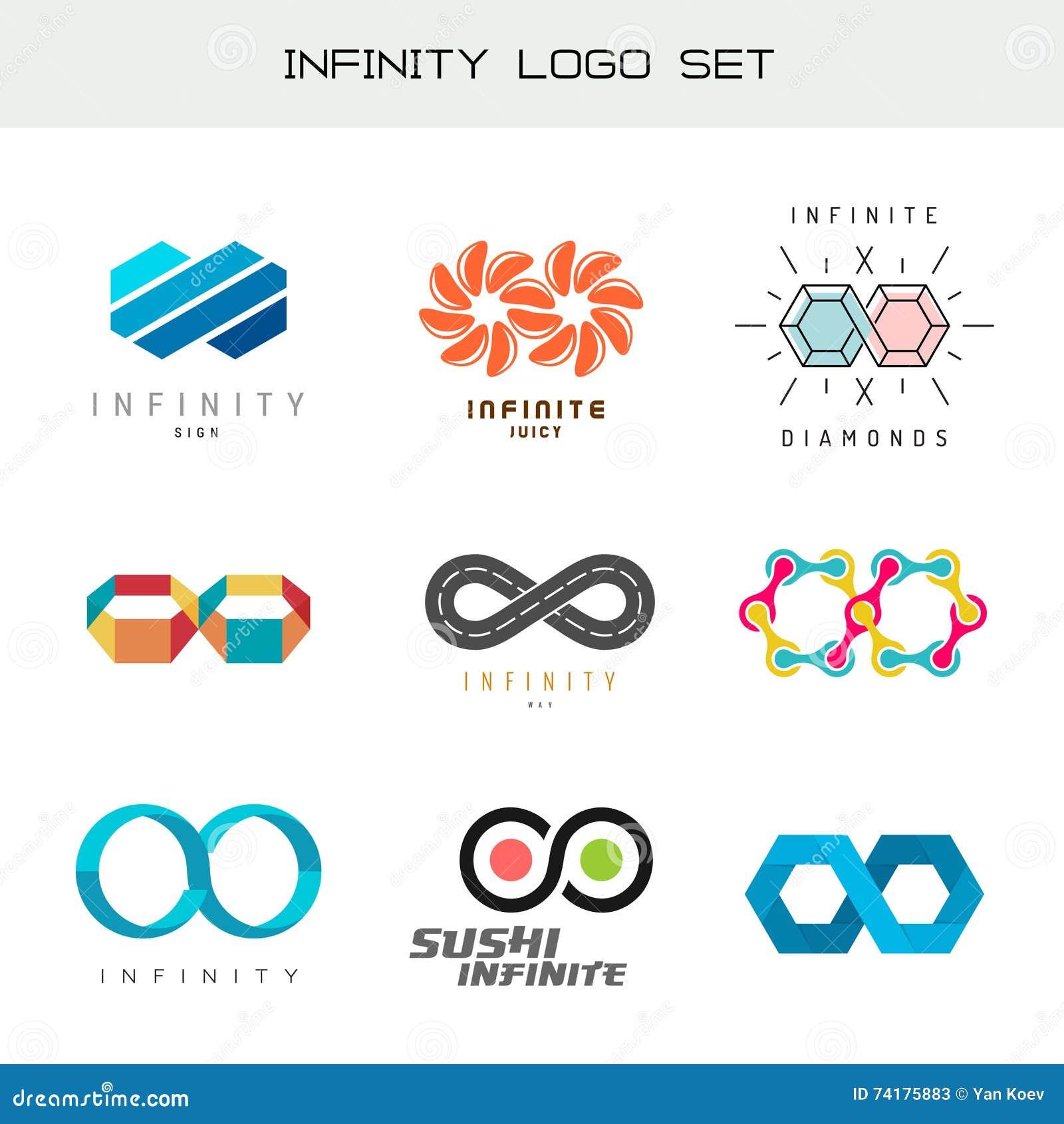 Infinity Logo Set Infinity Color Symbols Stock Vector