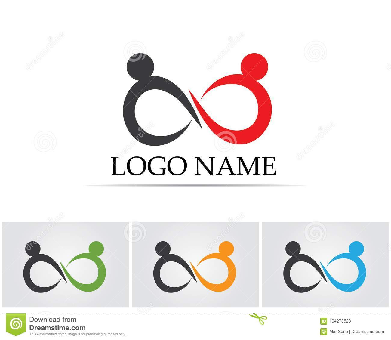 Infinity People Logo And Symbol Template Icons App Stock Vector