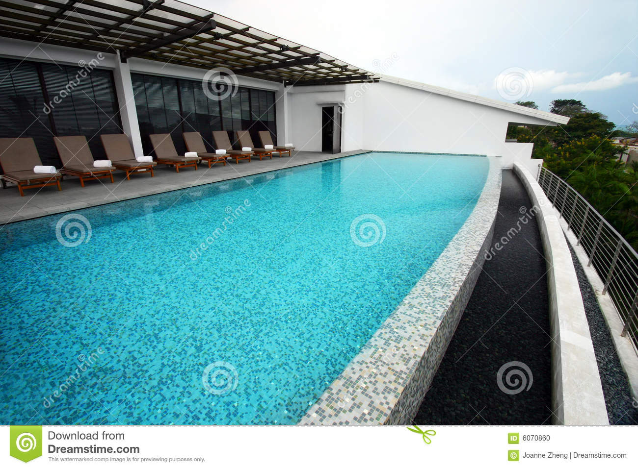 Infinity Pool Design, Roof Top Of Resort Hotel Stock Photo - Image ...