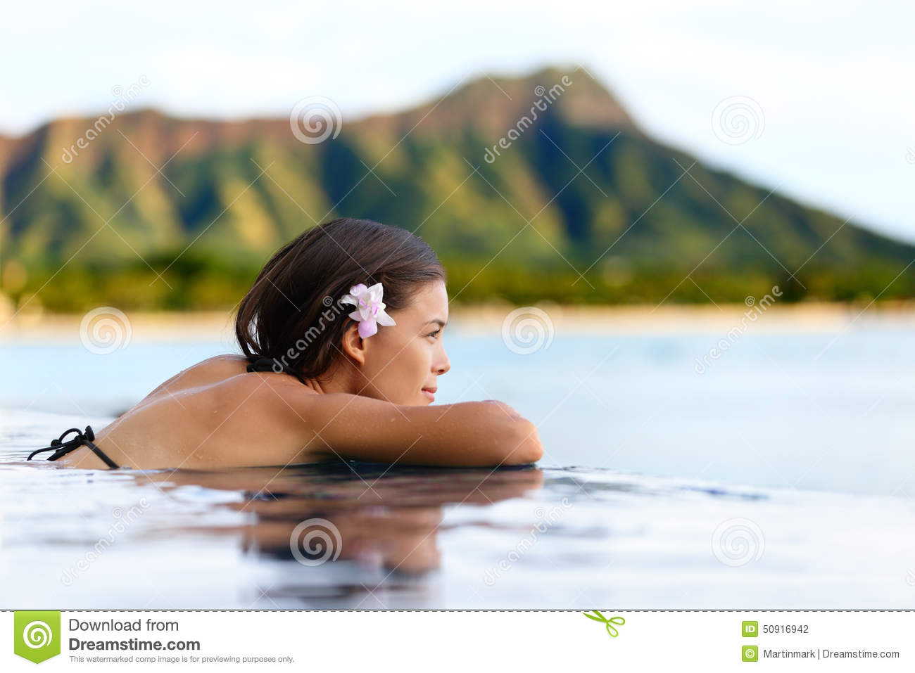 Download Infinity Pool Resort Woman Relaxing At Beach Stock Photo - Image of ocean, holidays: 50916942
