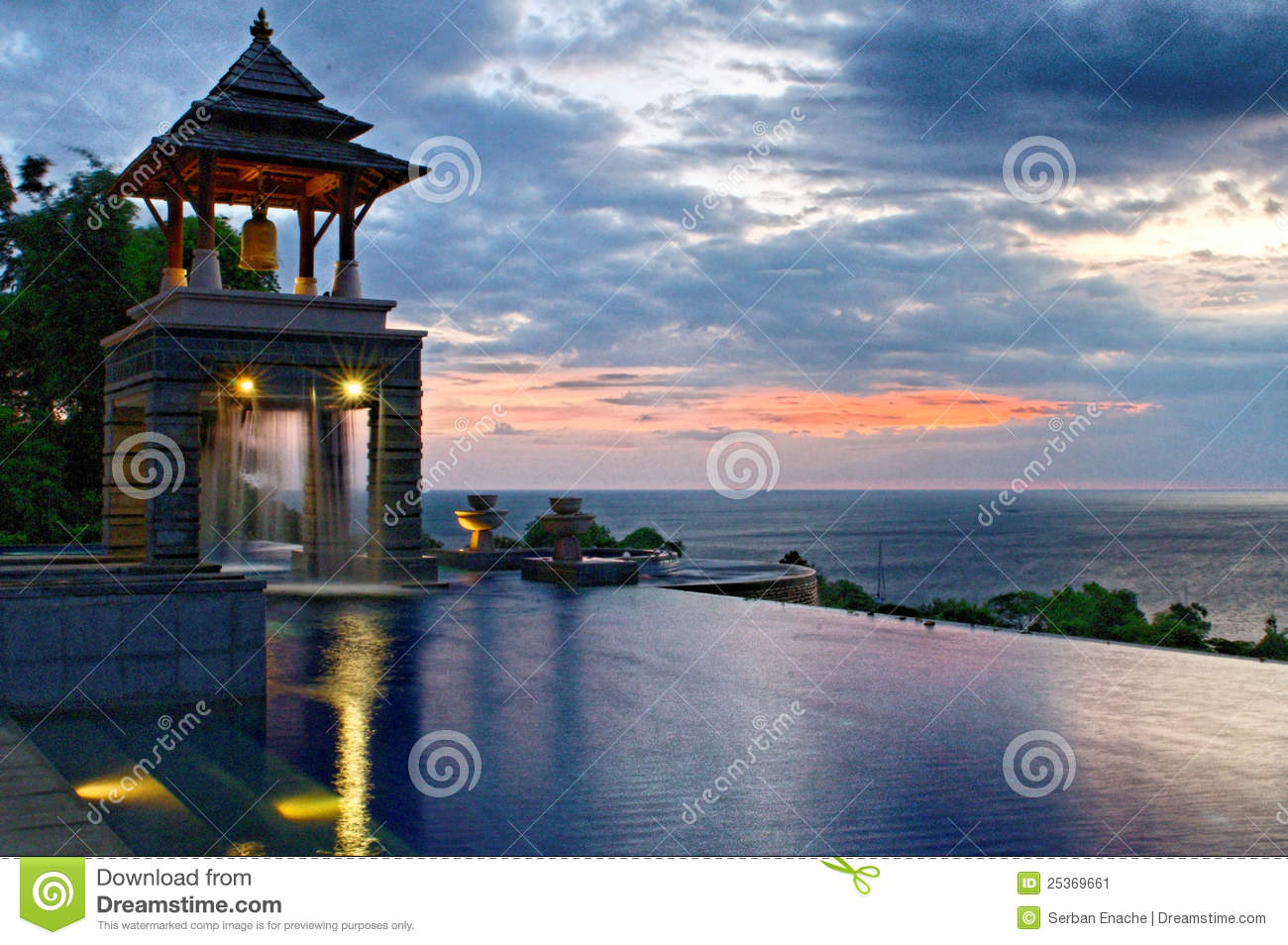 Download Infinity pool at sunset stock image. Image of lanta, lights - 25369661