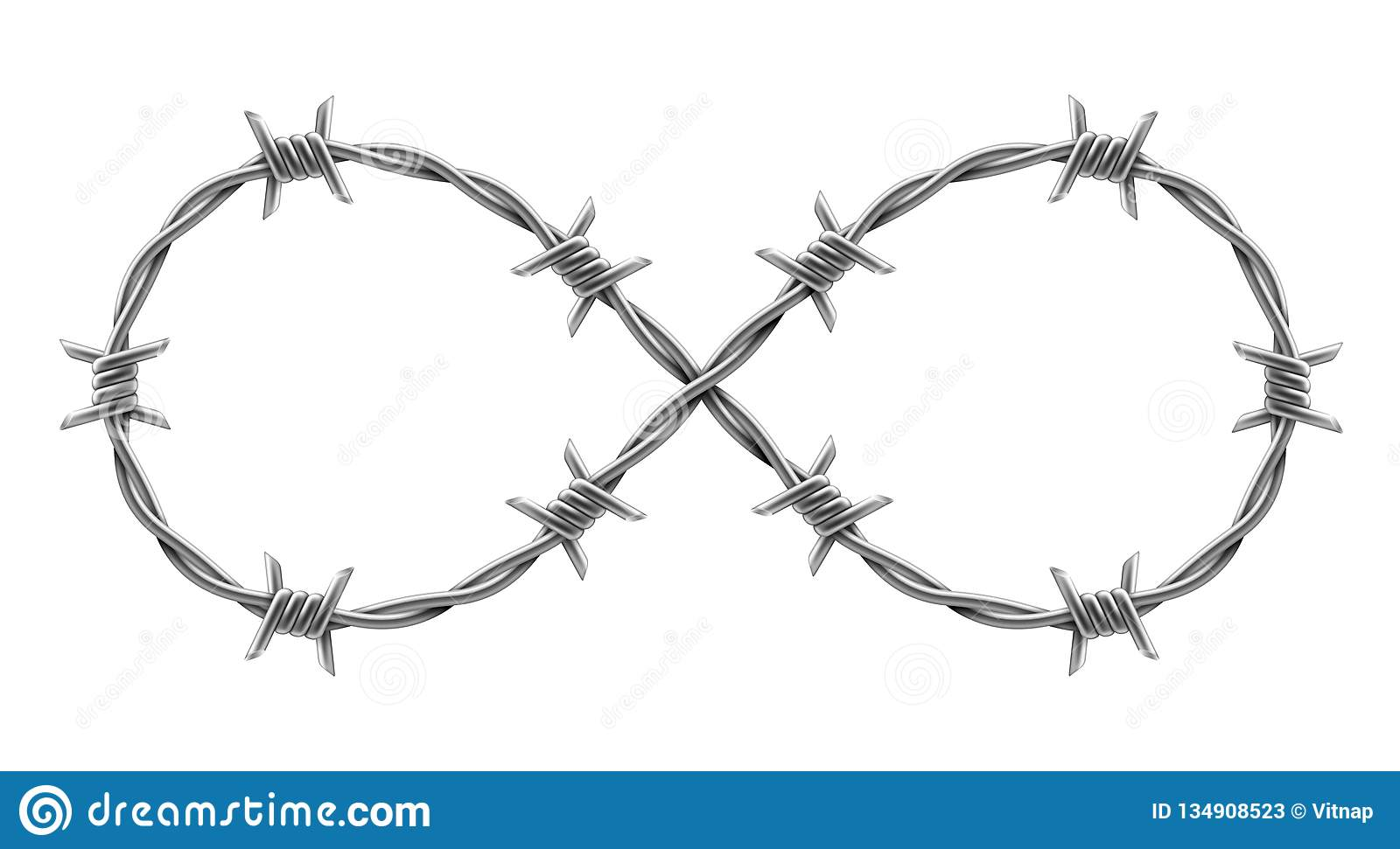 Infinity Sign Made Of Barbed Wire  Vector Realistic