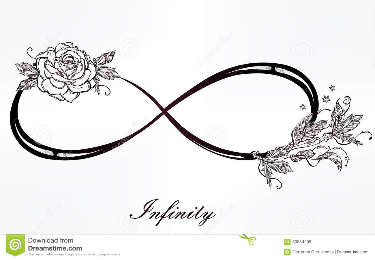 Stock Illustration Infinity Sign Rose Hand Drawn Intricare Vintage Retro Style Elegant Tattoo Art Romance Love Magic Freedom Scrap Cooking Image60854909 on vintage romance illustrations