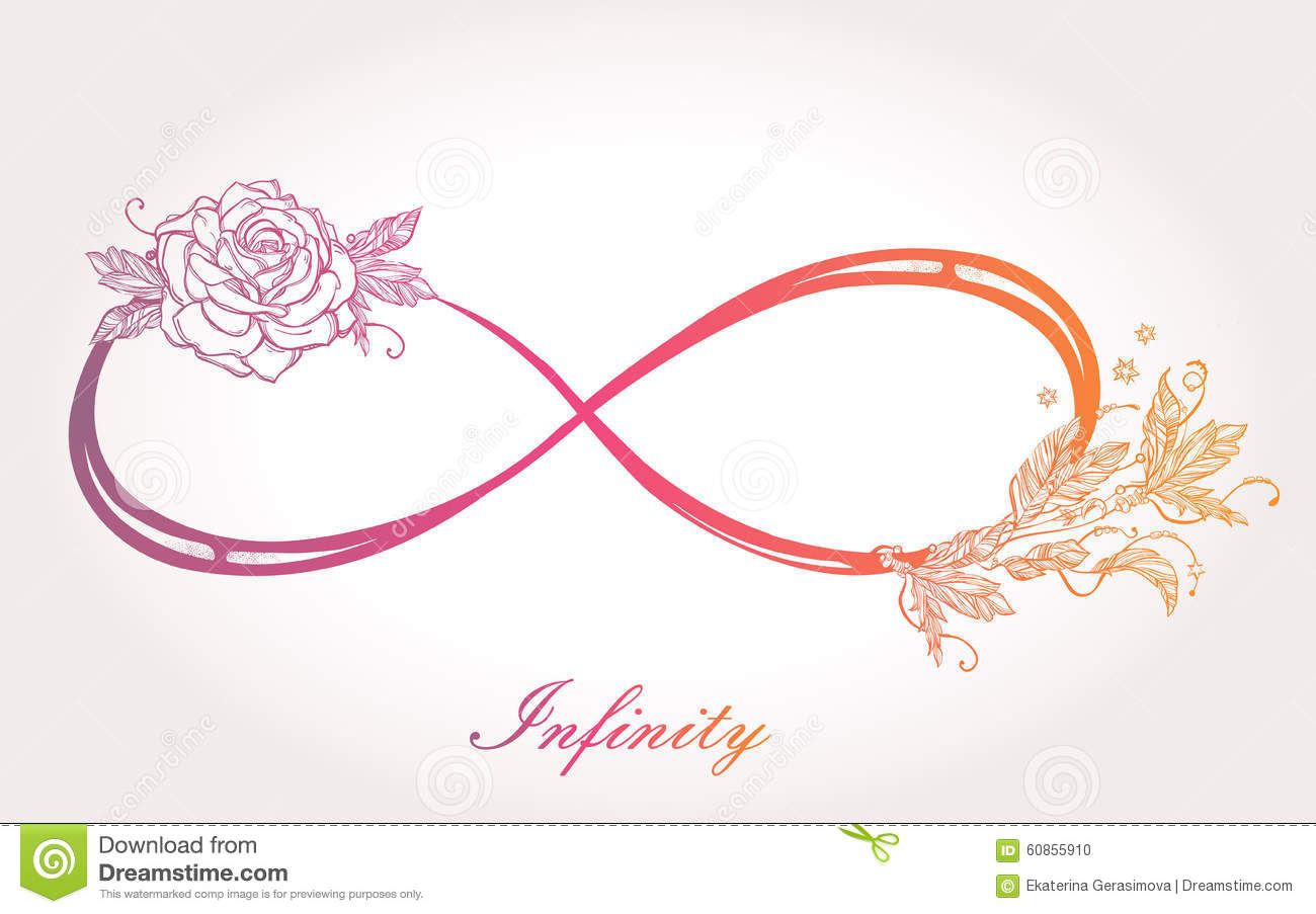Infinity Sign With Rose. Stock Illustration - Image: 60855910