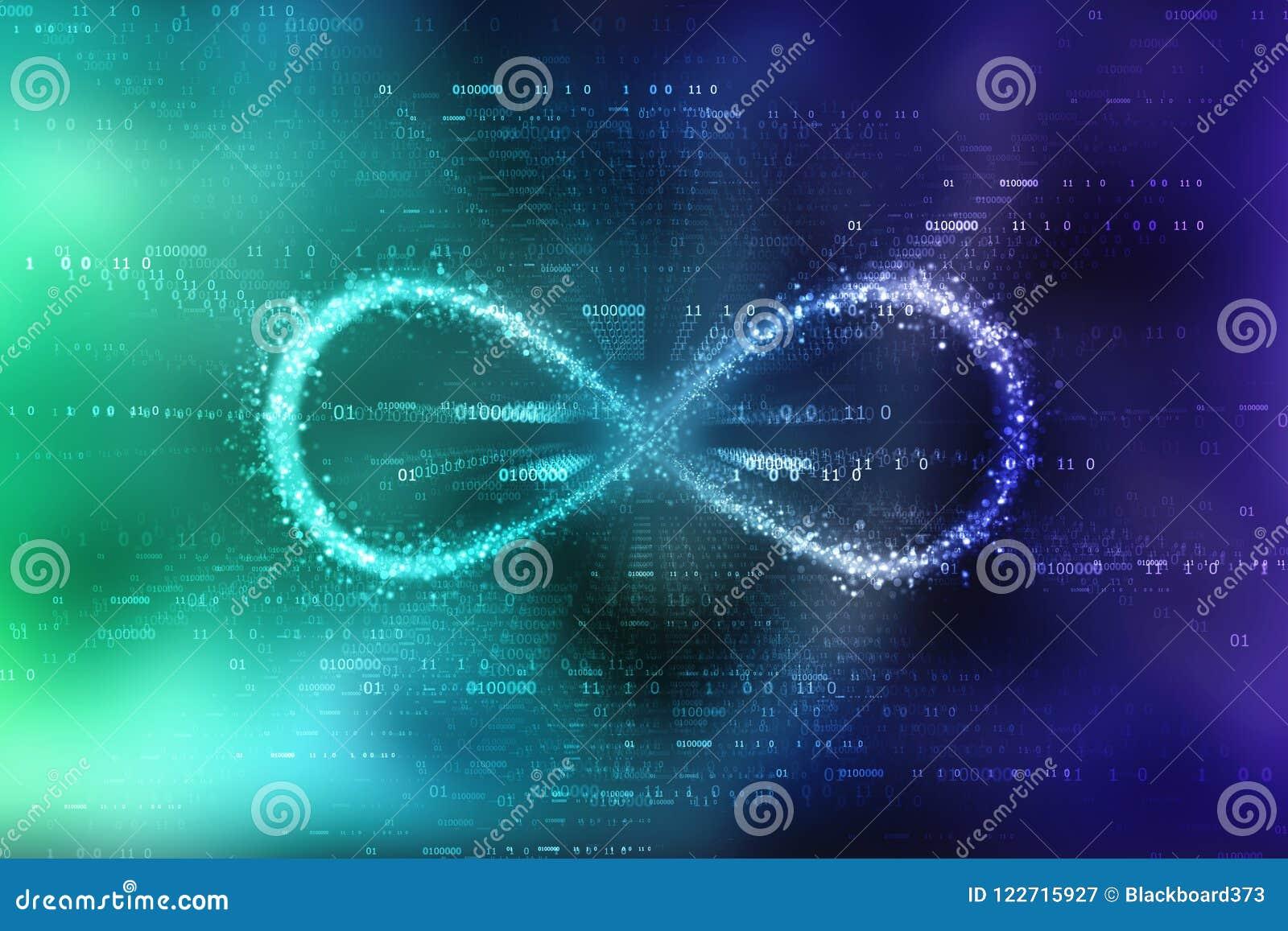 Infinity Symbol In Binary Digital Background Stock Illustration