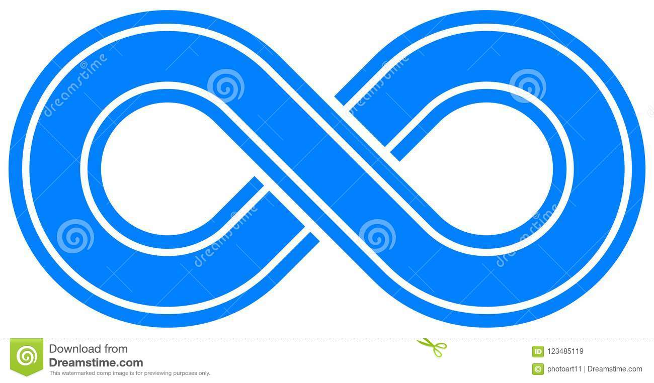 Infinity Symbol Blue Outlined With Discontinuation Isolated