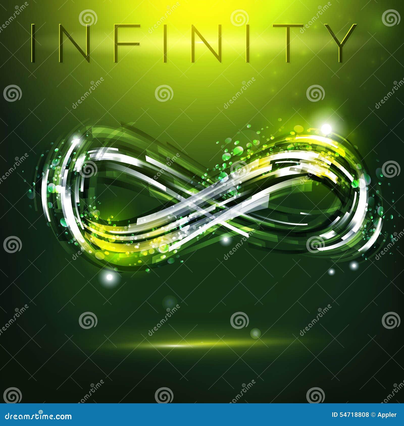 infinity symbol at dark green background stock vector