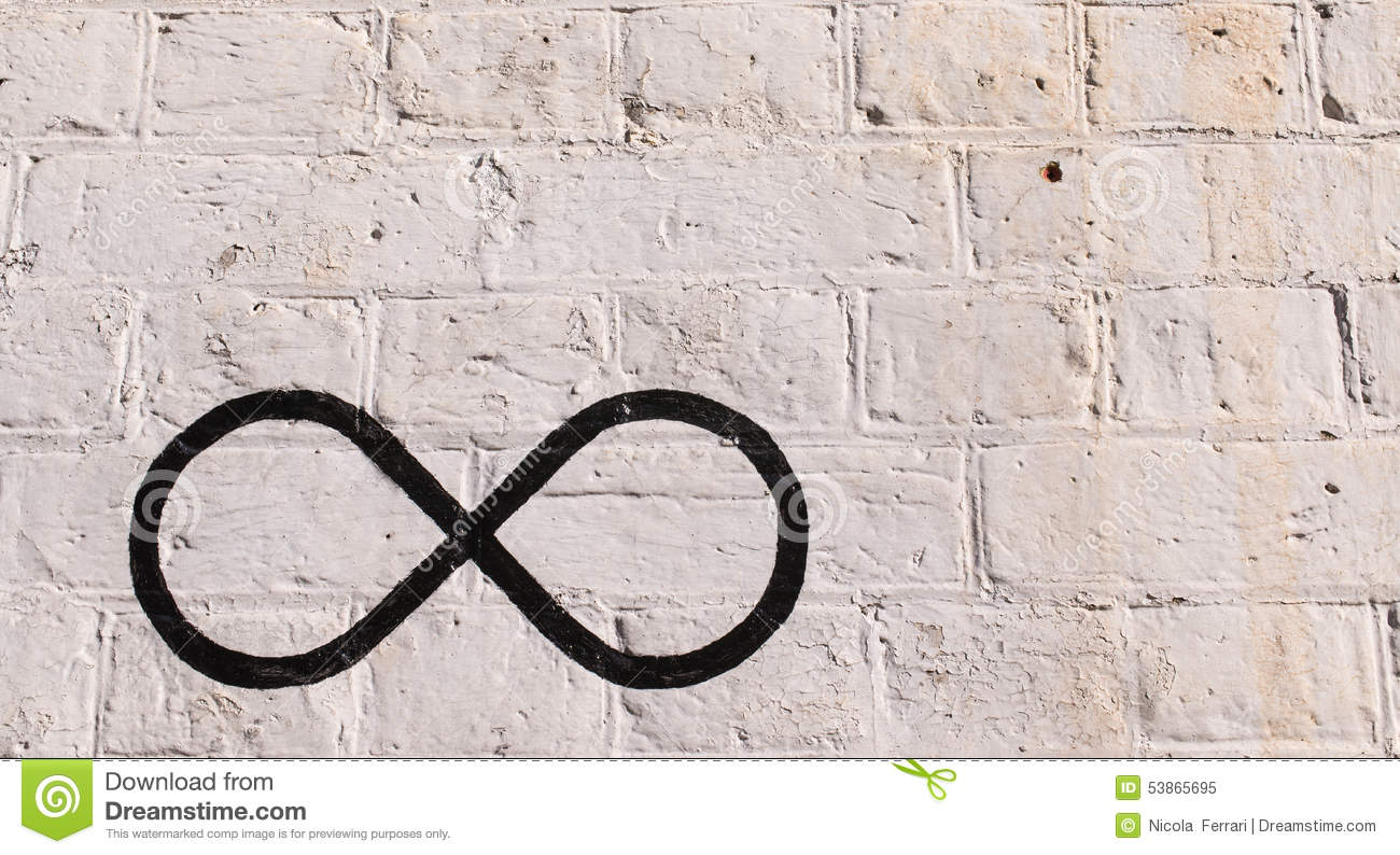 The infinity symbol drawn in black on a brick wall stock image the infinity symbol drawn in black on a brick wall buycottarizona Image collections