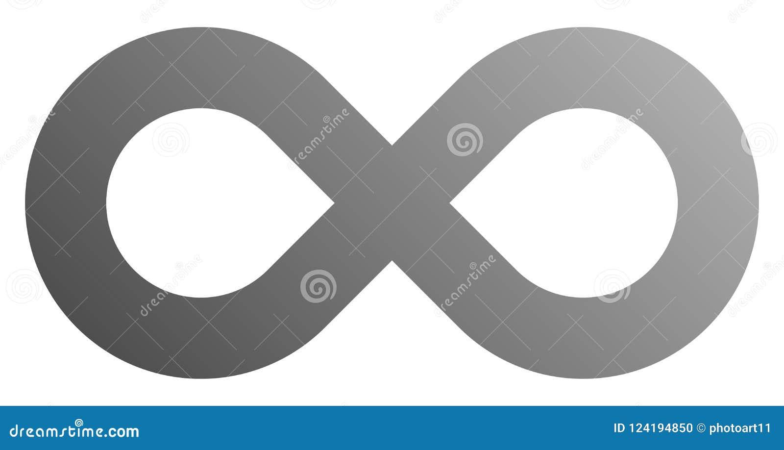 Infinity Symbol Gray Gradient Standard Isolated Vector Stock