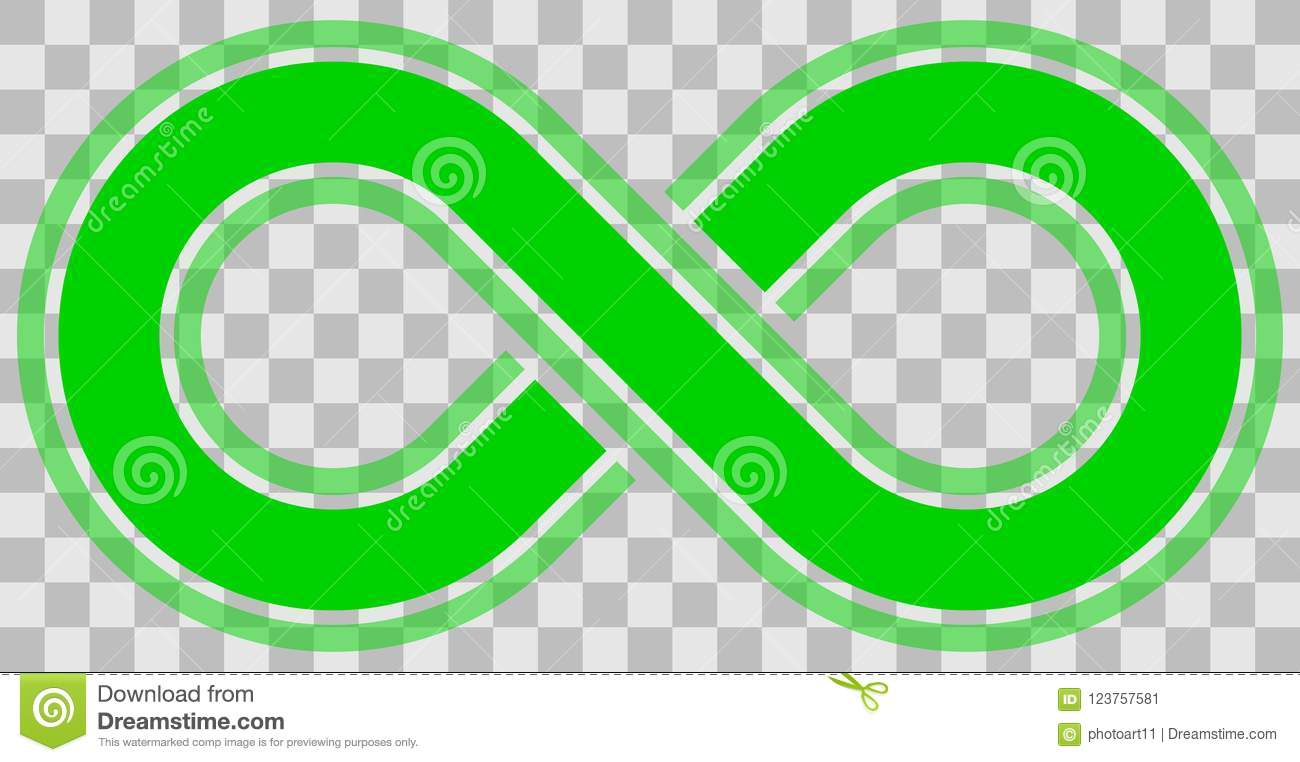 Infinity Symbol Green Outlined With Discontinuation And Transp