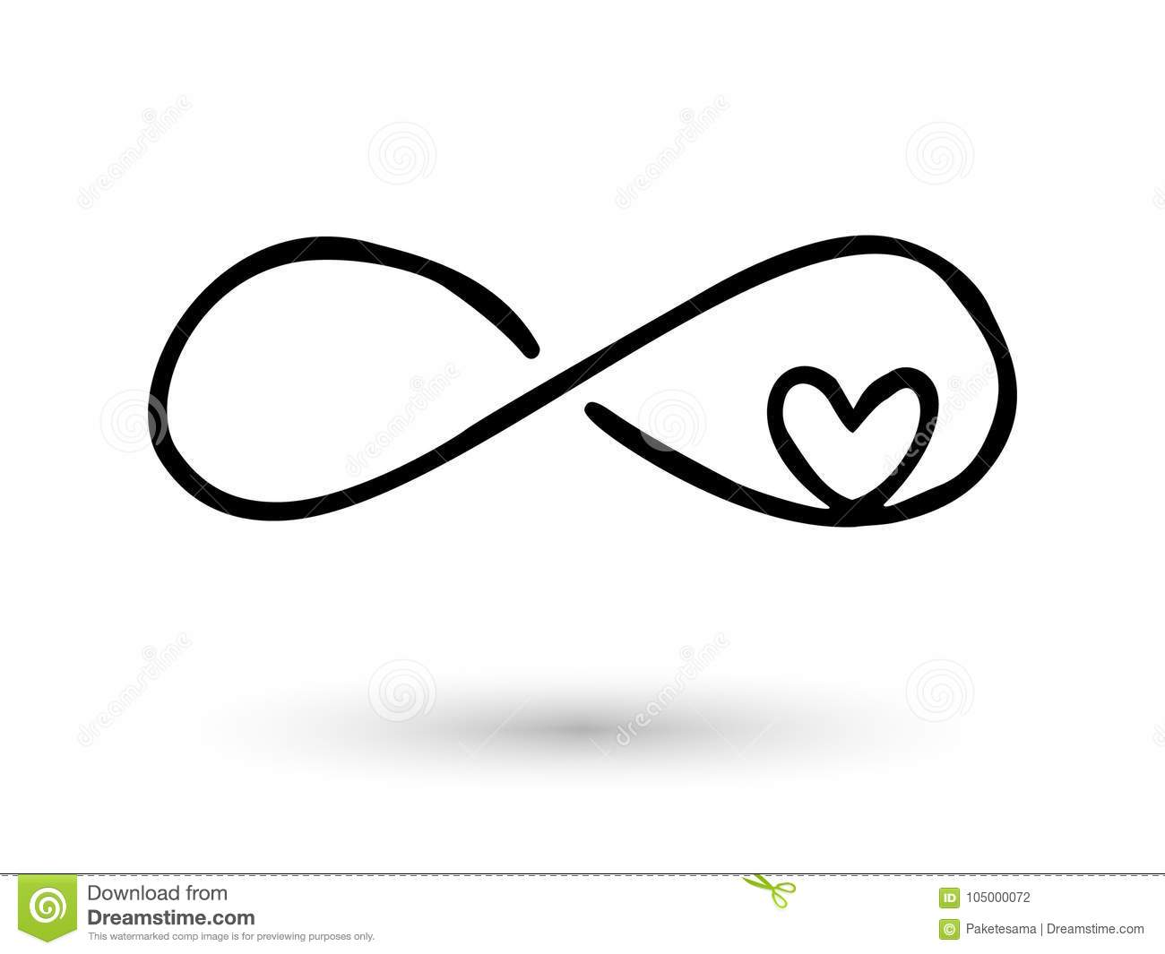 Infinity Symbol Hand Drawn With Ink Brush Stock Vector