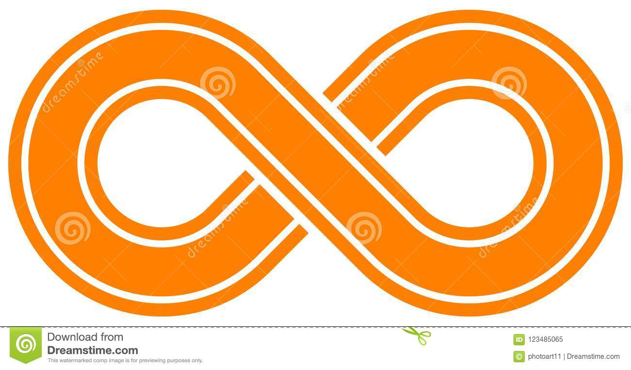 Infinity Symbol Orange Outlined With Discontinuation Isolate