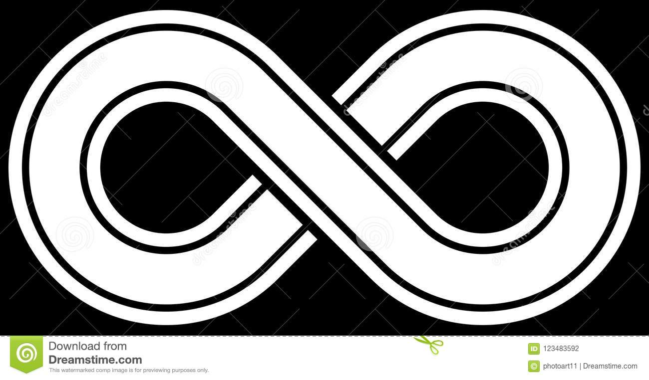 Infinity Symbol White Outlined With Discontinuation Isolated