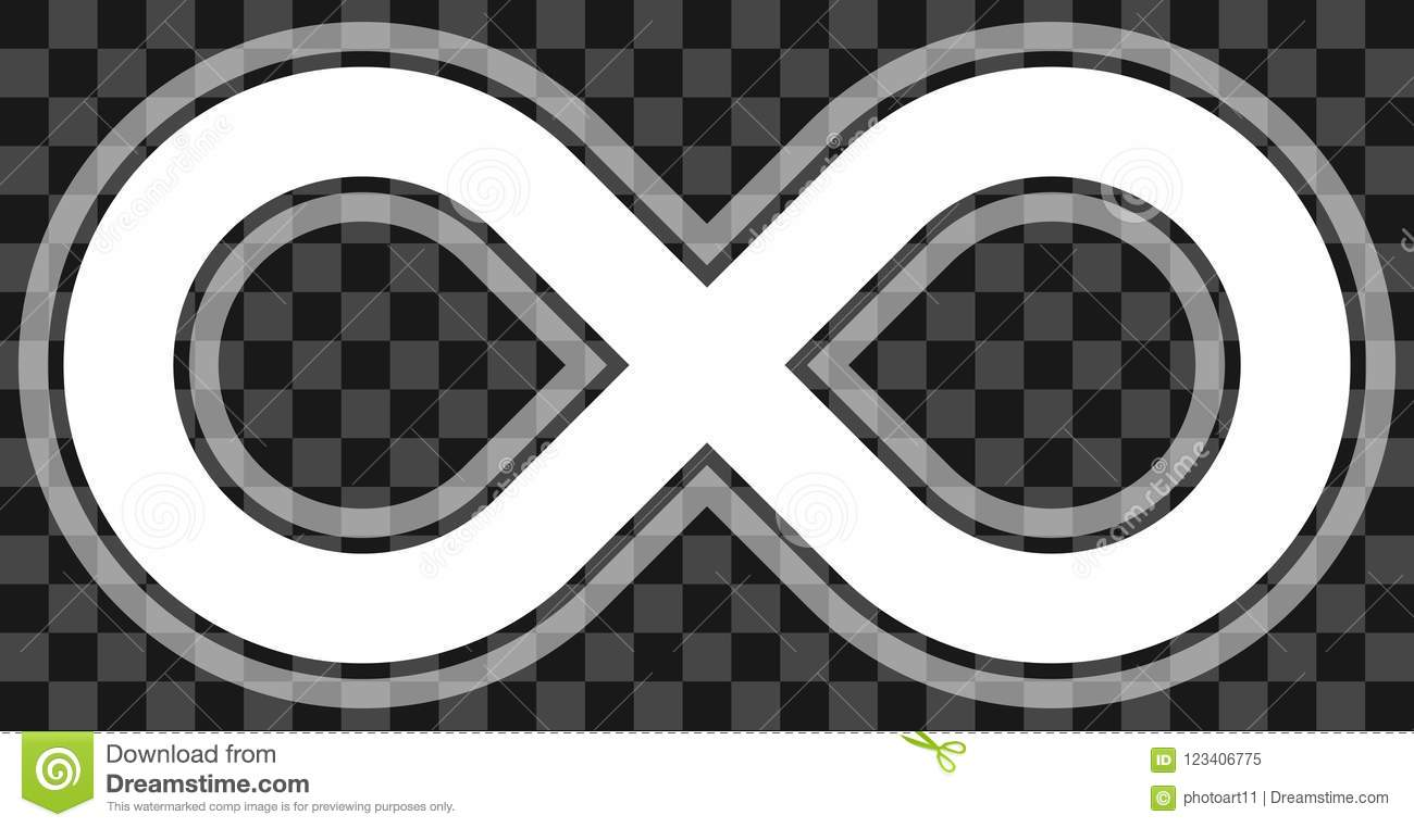 Infinity Symbol White Outlined With Transparency Eps 10 Isol