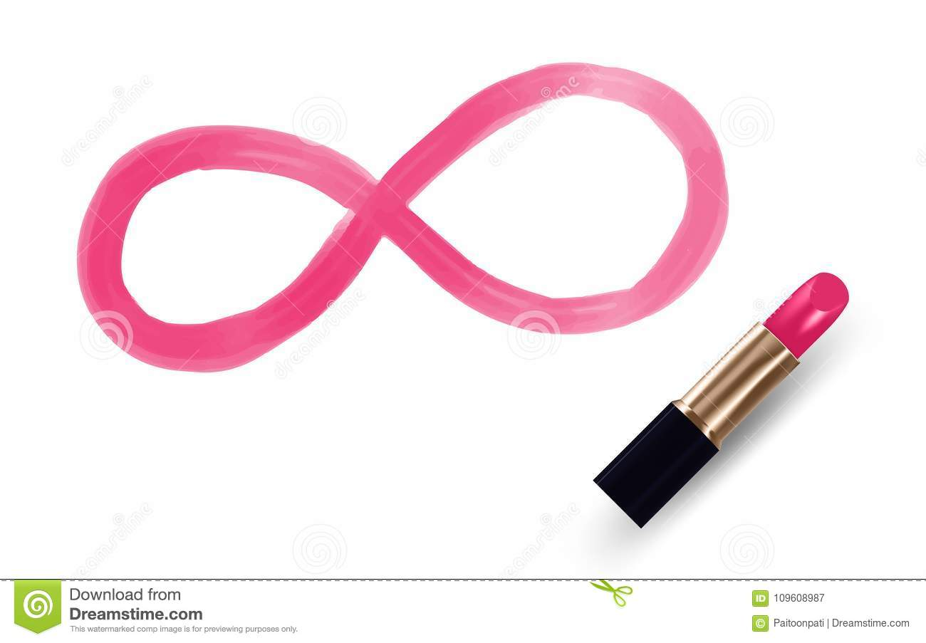 Infinity Symbol Write By Lipstick Pink Color Isolated On White