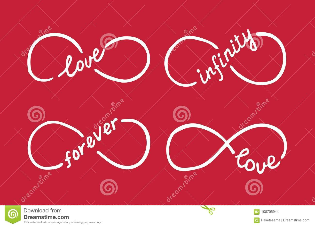 Infinity Symbols With Words Love Infinity Forever Stock Vector