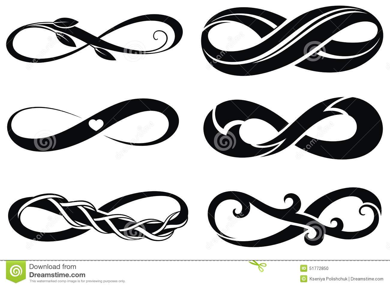 Infinity Tattoo Symbols Stock Vector Illustration Of Objects