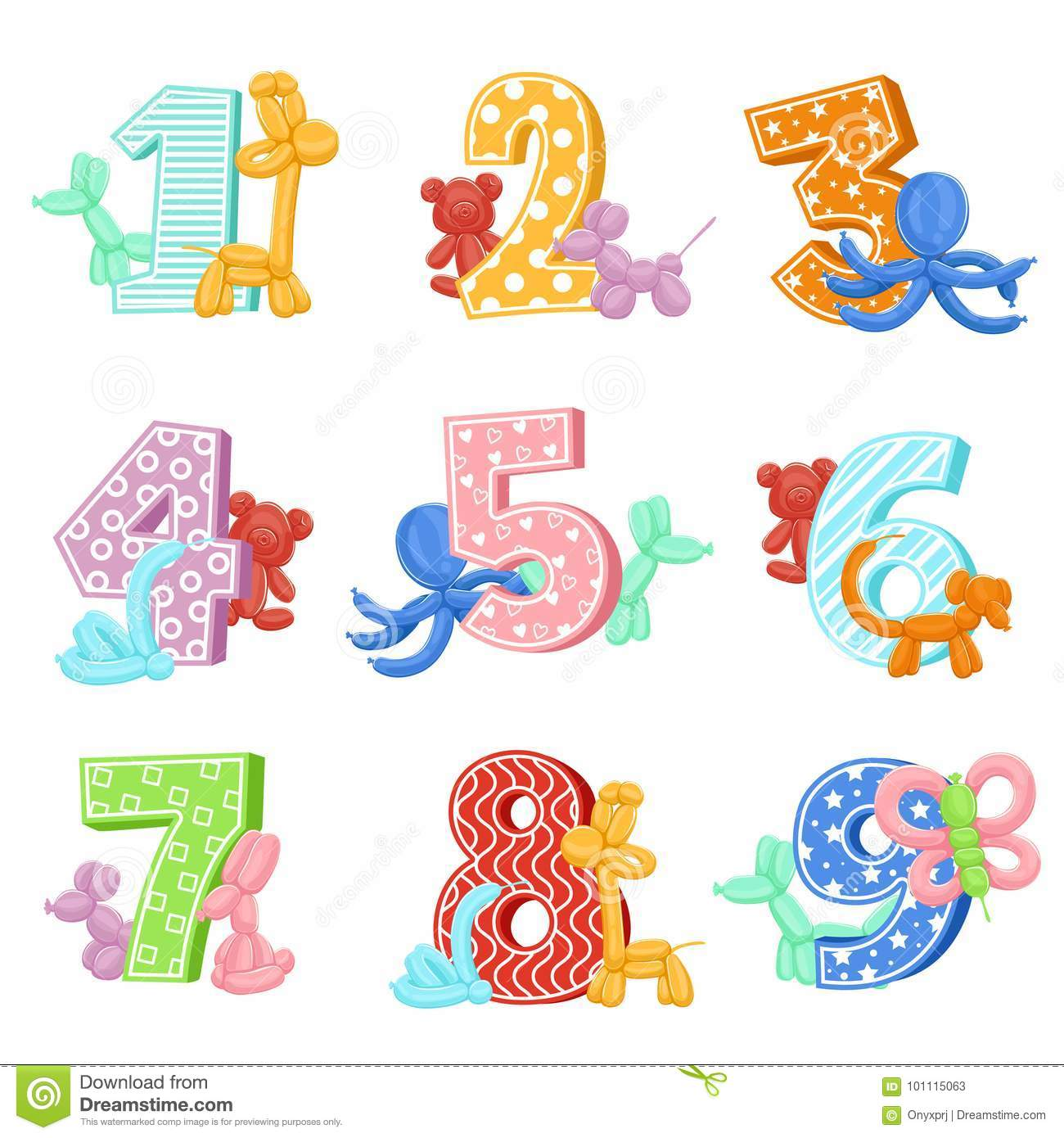 Inflatable Animals With Birthday Numbers. Vector Illustrations ...