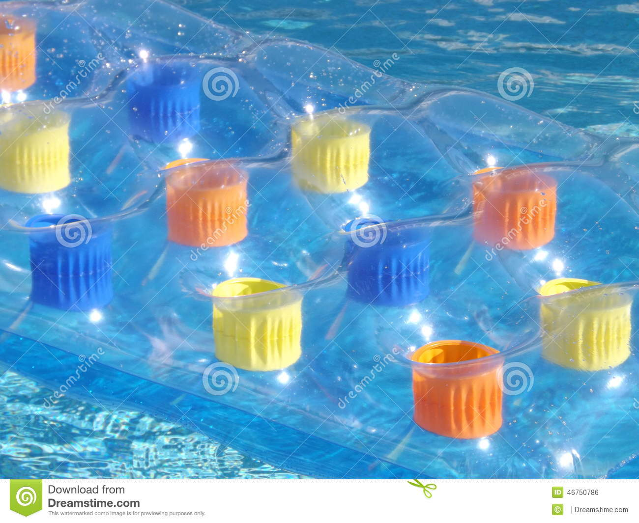 Inflatable Bed On Swimming Pool Stock Photo Image 46750786