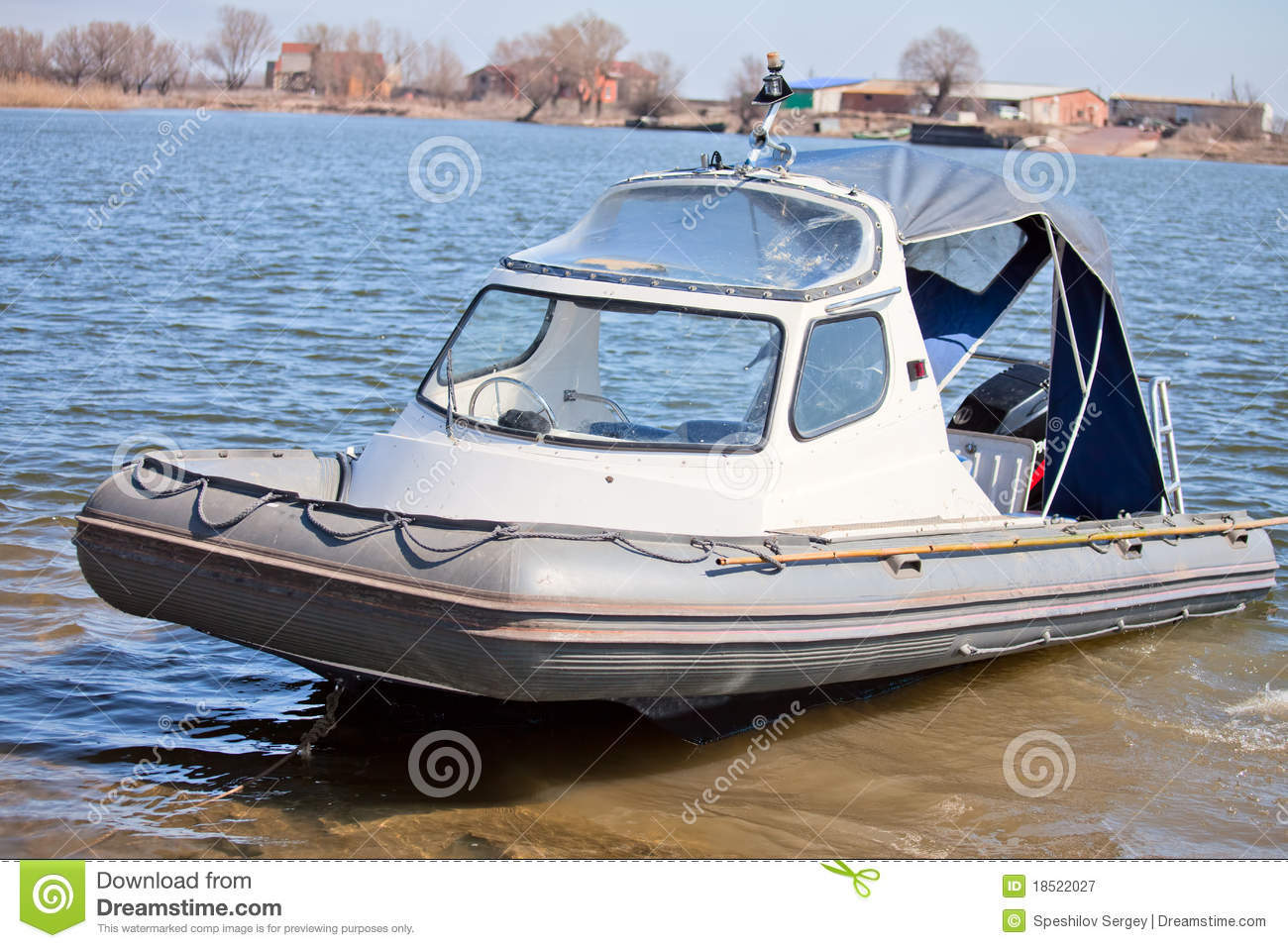 Inflatable Boat With A Cabin Royalty Free Stock Photography - Image ...