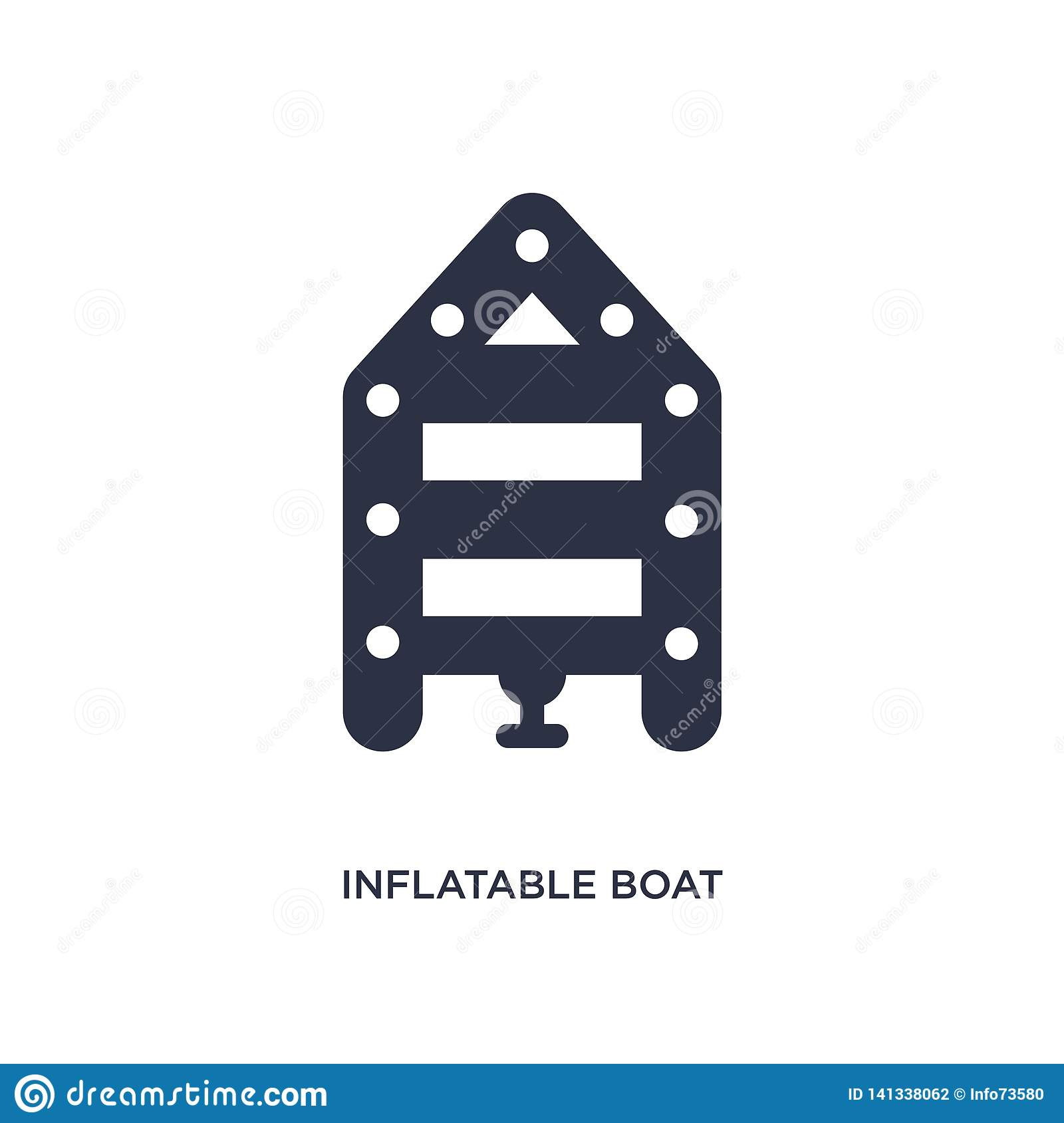 inflatable boat icon on white background. Simple element illustration from camping concept
