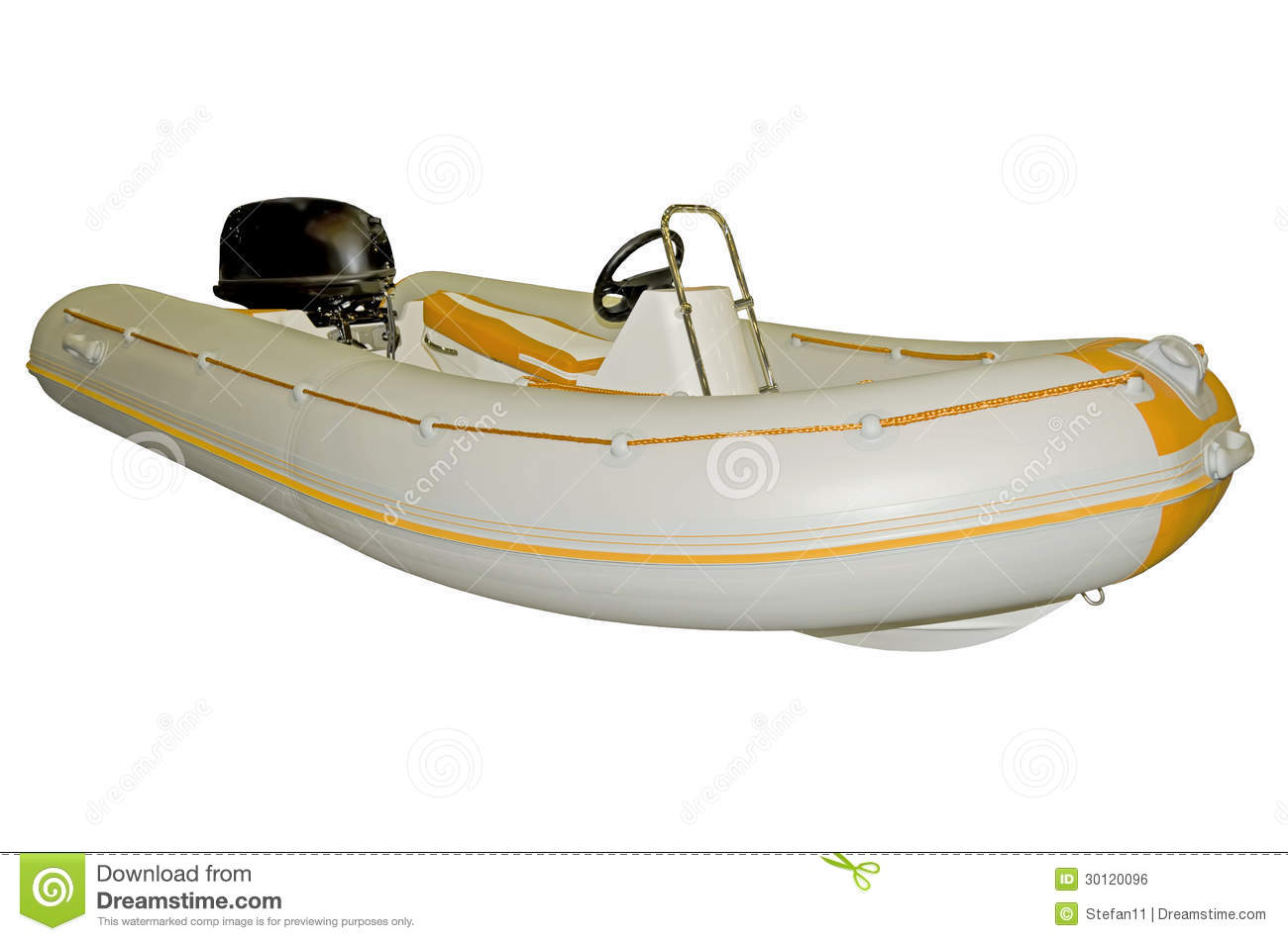 Inflatable Boat With Motor Royalty Free Stock Image - Image: 30120096