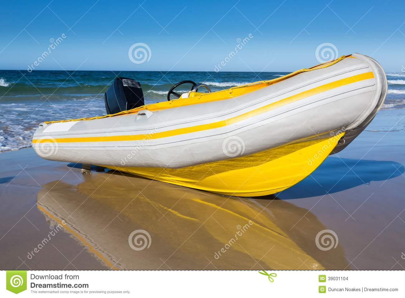 Inflatable Boat With Motor Stock Photo - Image: 39031104