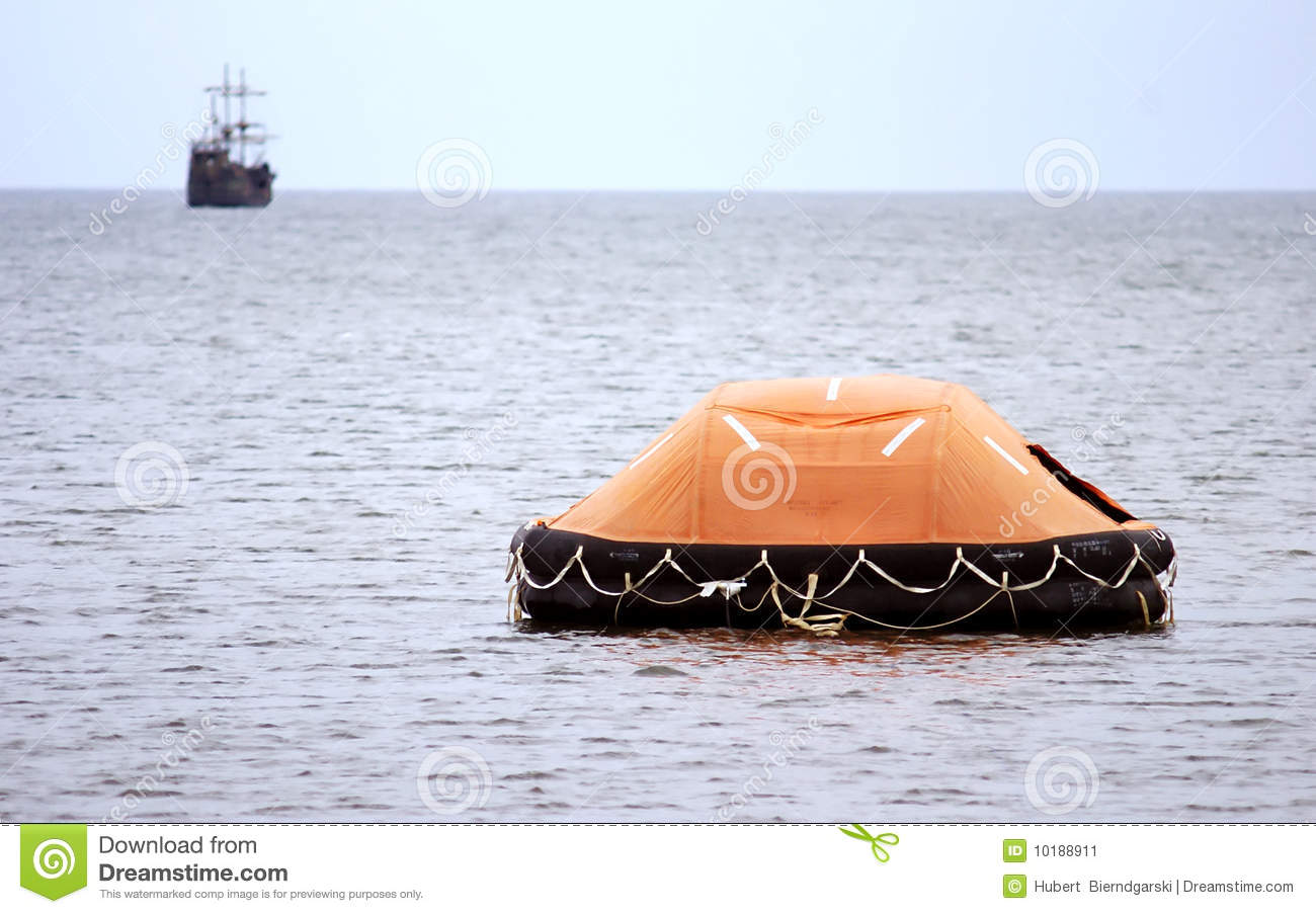 Inflatable Lifeboat At Sea Stock Image - Image: 10188911