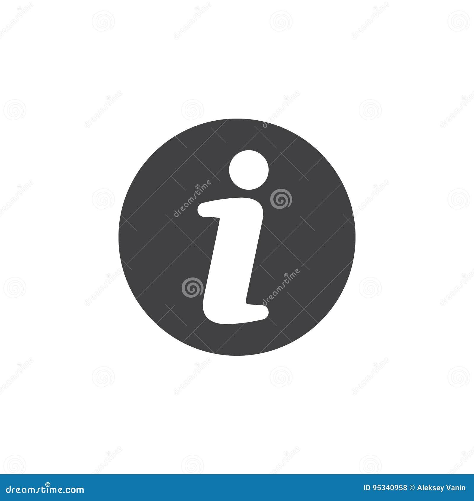 Info flat icon. Round simple button, circular vector sign.