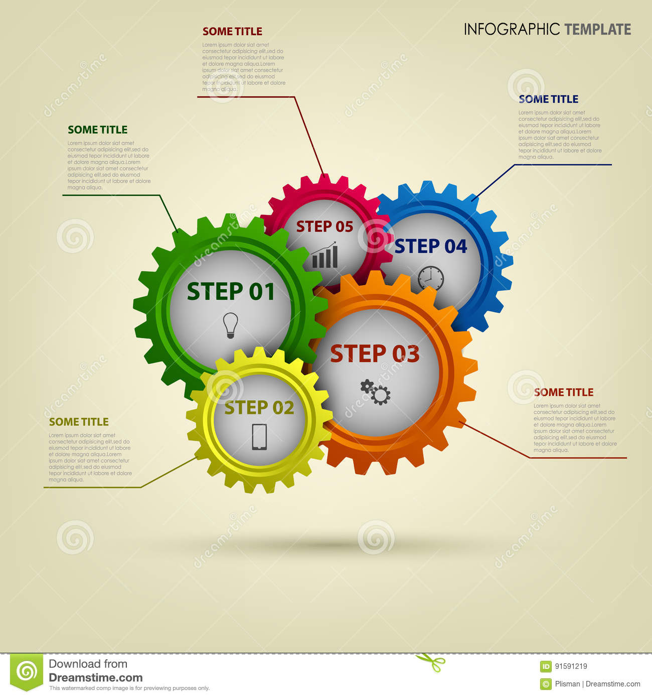 info graphic with abstract colored gears template stock vector
