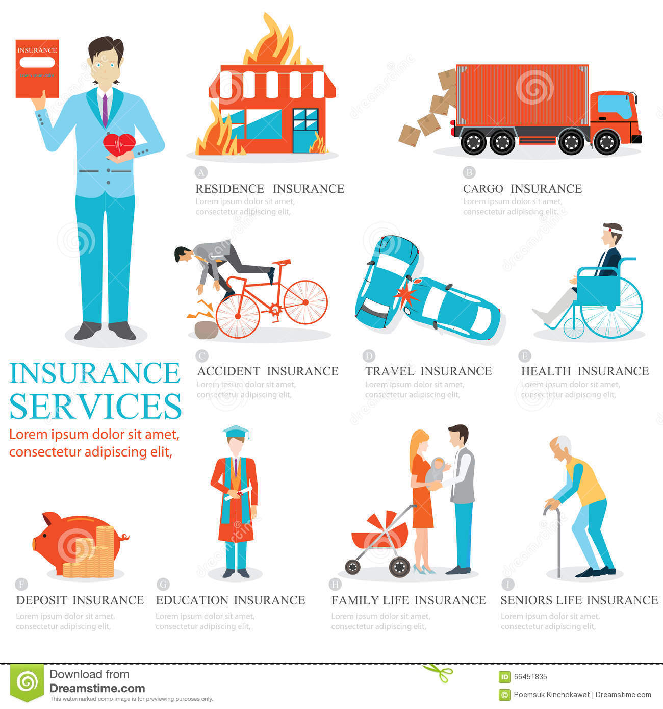 Insurance And Education: Info Graphic Of Business Insurance Services. Stock Vector