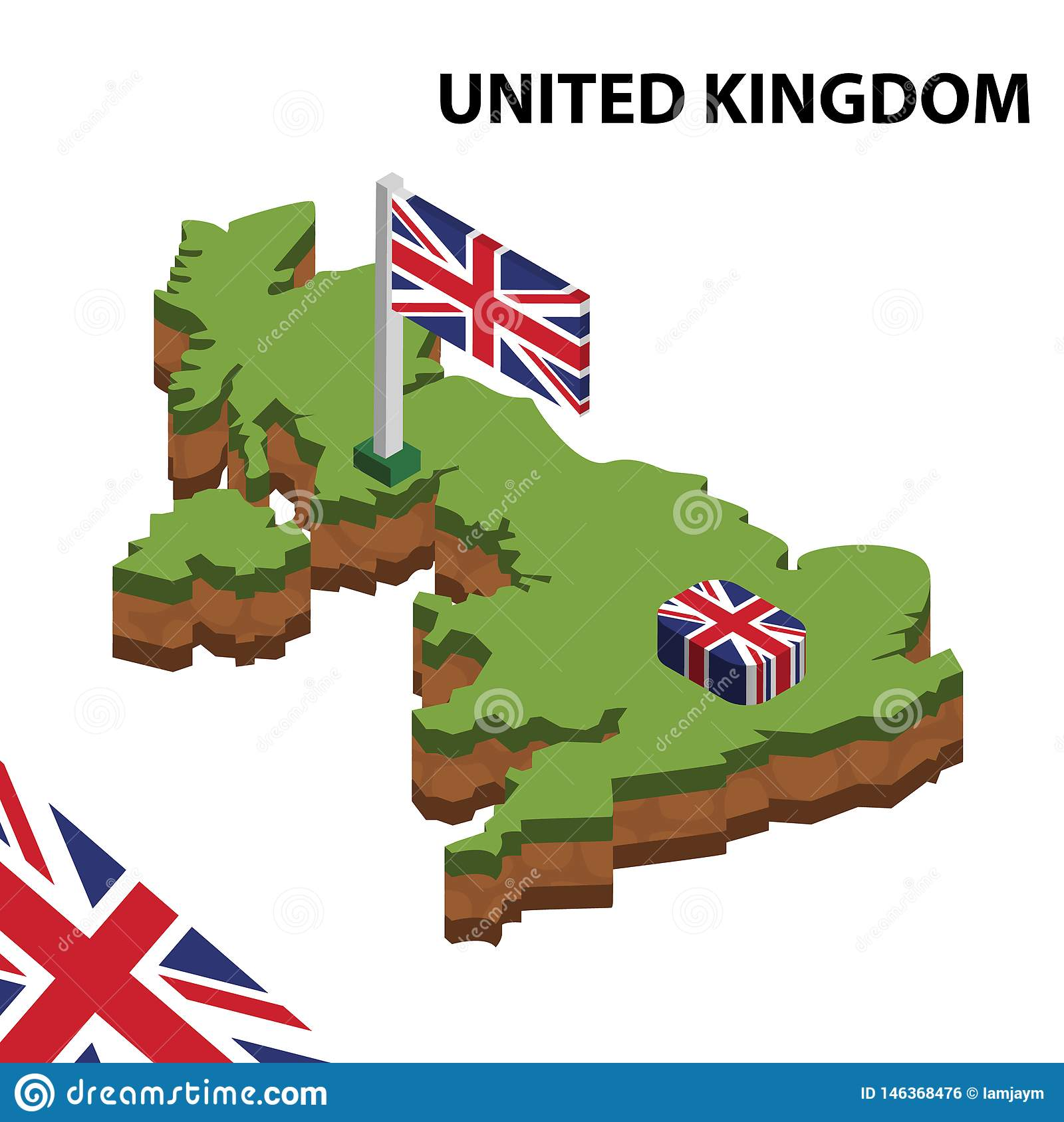 Info graphic  Isometric map and flag of UNITED KINGDOM. 3D isometric Vector Illustration