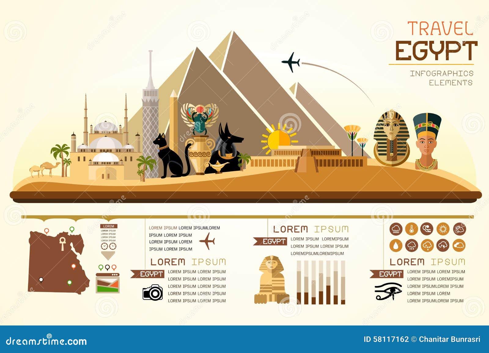 Info graphics travel and landmark egypt template design for Egypt brochure templates