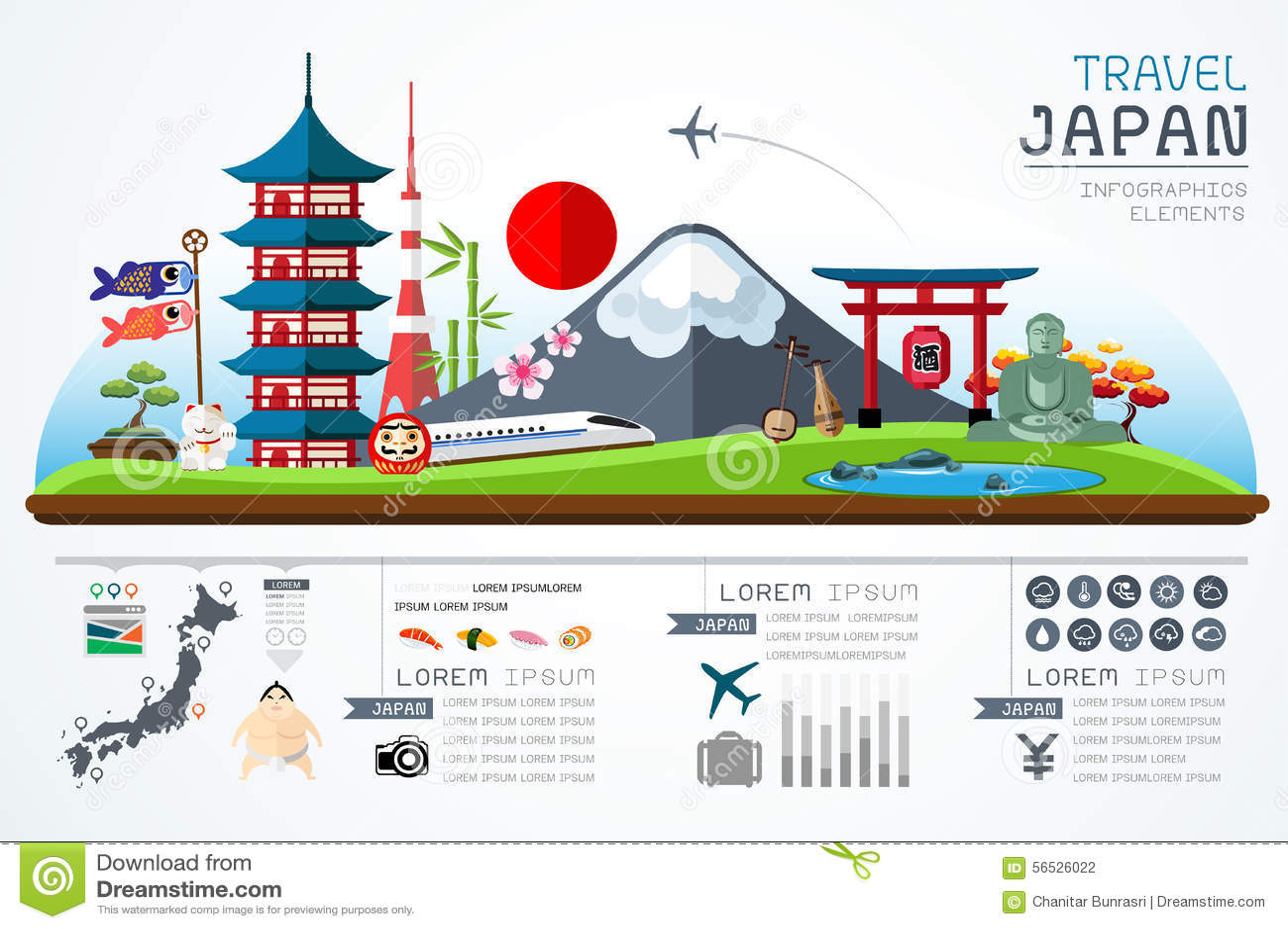 Info Graphics Travel And Landmark Japan Template Design. Stock ...