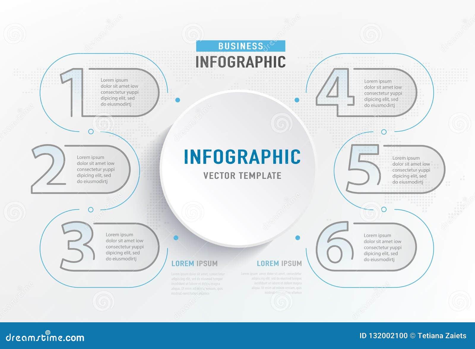 Infograph 6 kroka element Okrąża graficznego mapa diagram, biznesowego wykresu projekt również zwrócić corel ilustracji wektora