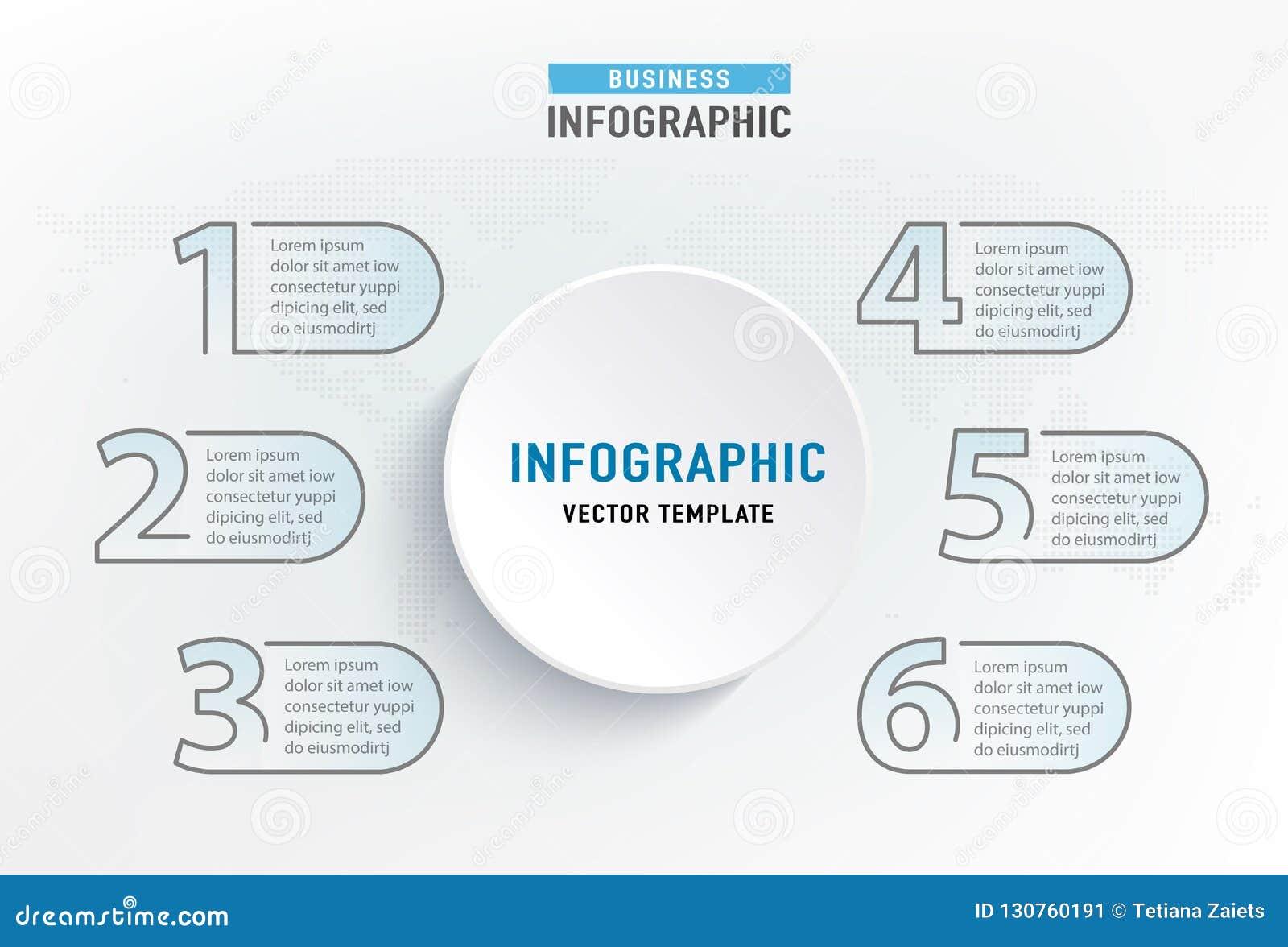Infograph 6 stapelement Diagram van de cirkel het grafische grafiek, bedrijfsgrafiekontwerp Vector illustratie