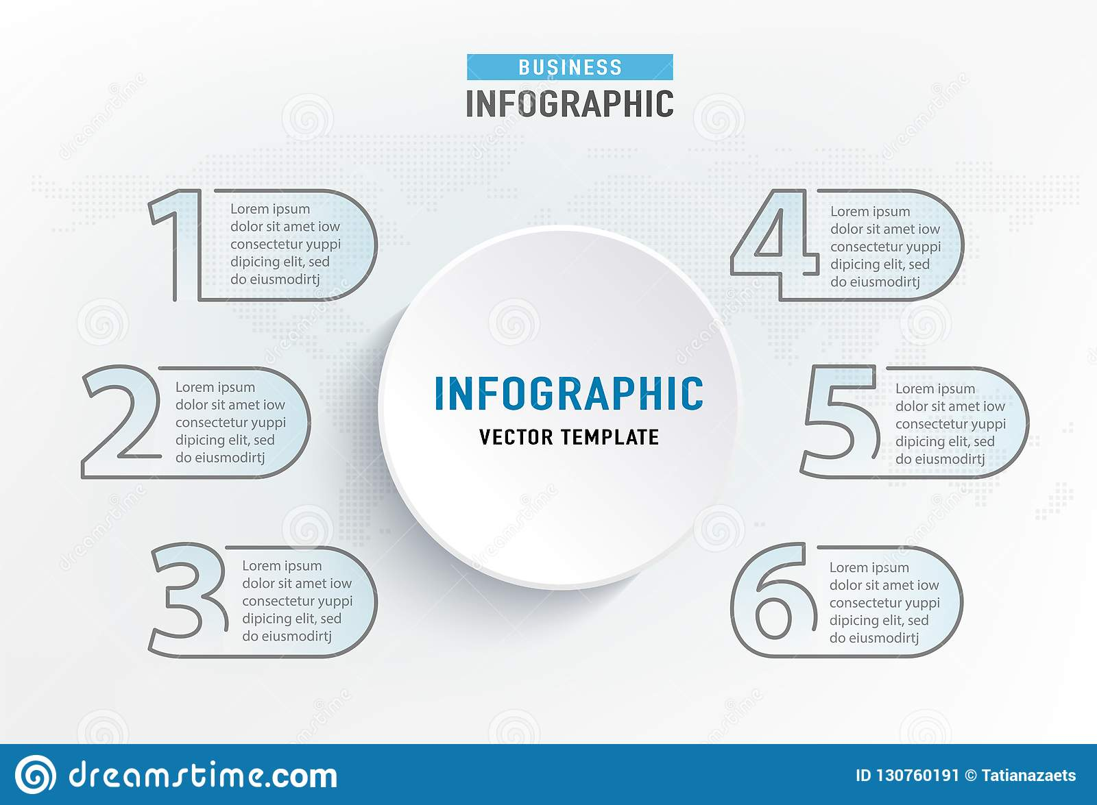 Infograph 6 step element. Circle graphic chart diagram, business graph design. Vector illustration