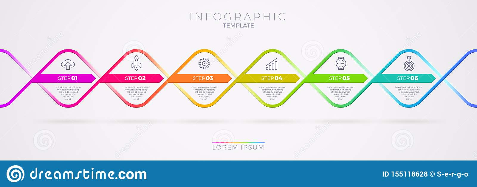 Infographic与企业象的模板设计 流程图witn六选择或步 Infographic企业概念