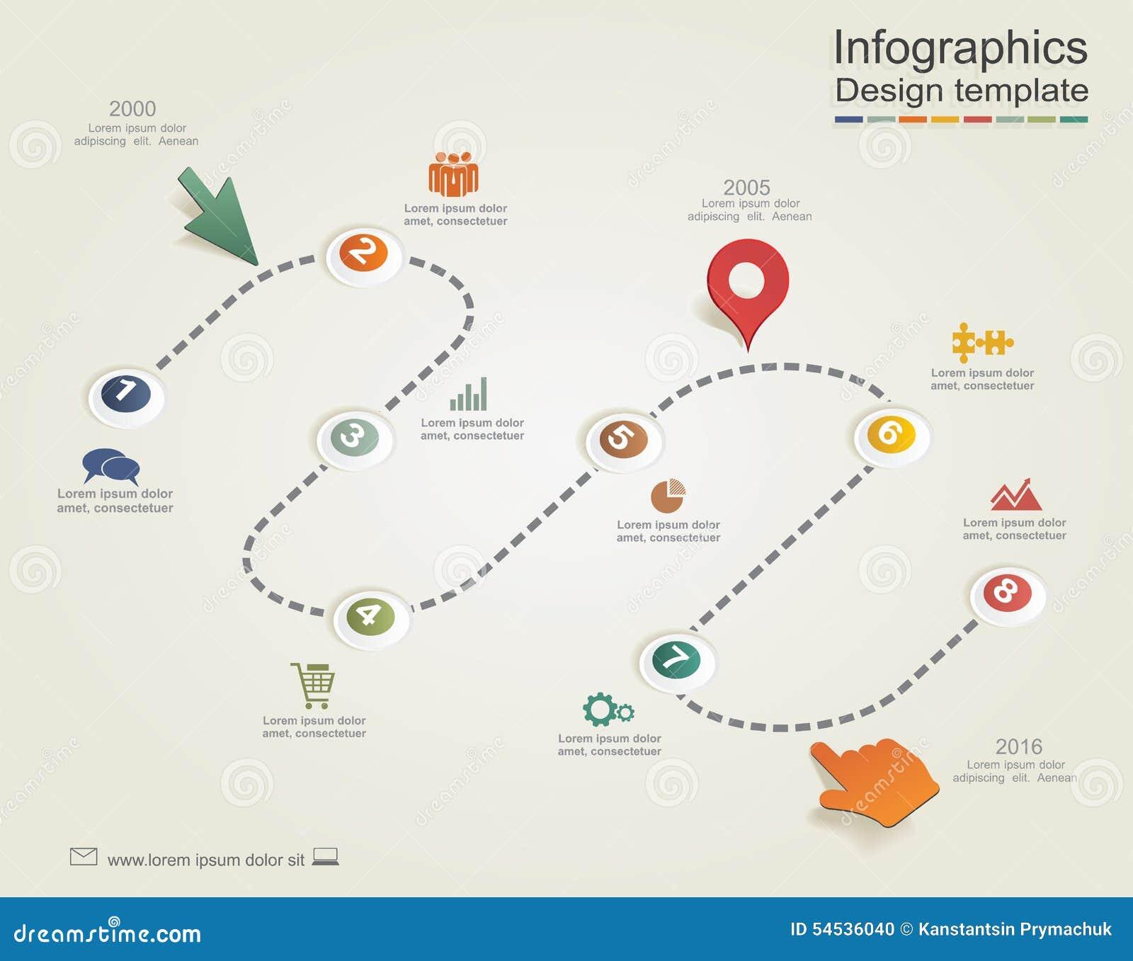 Infographic与箭头和象的报告模板