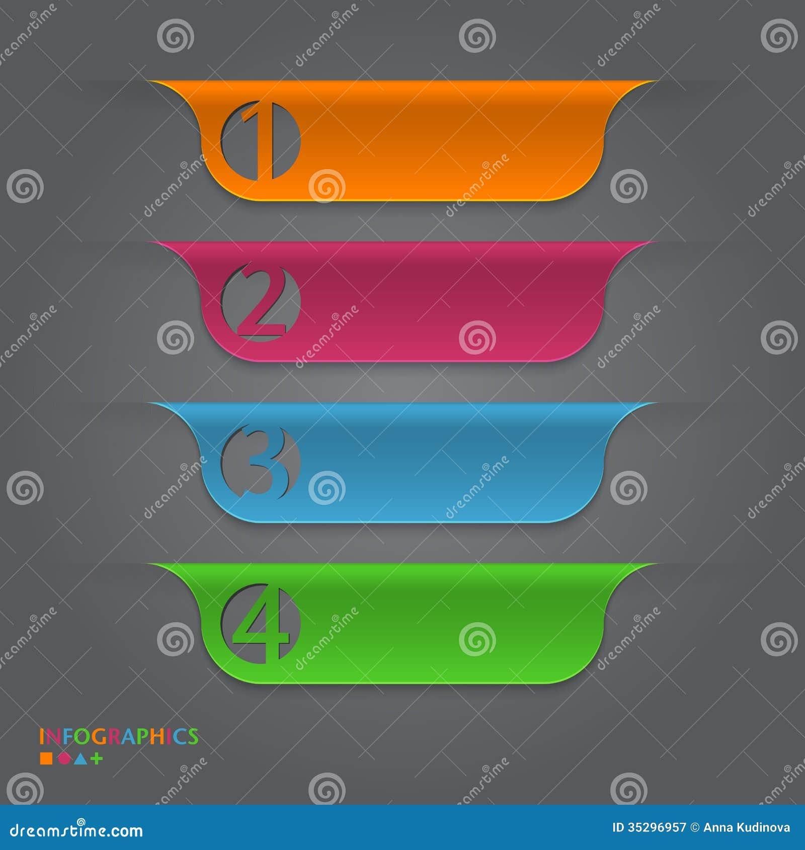 Infographic与纸标记的设计模板。