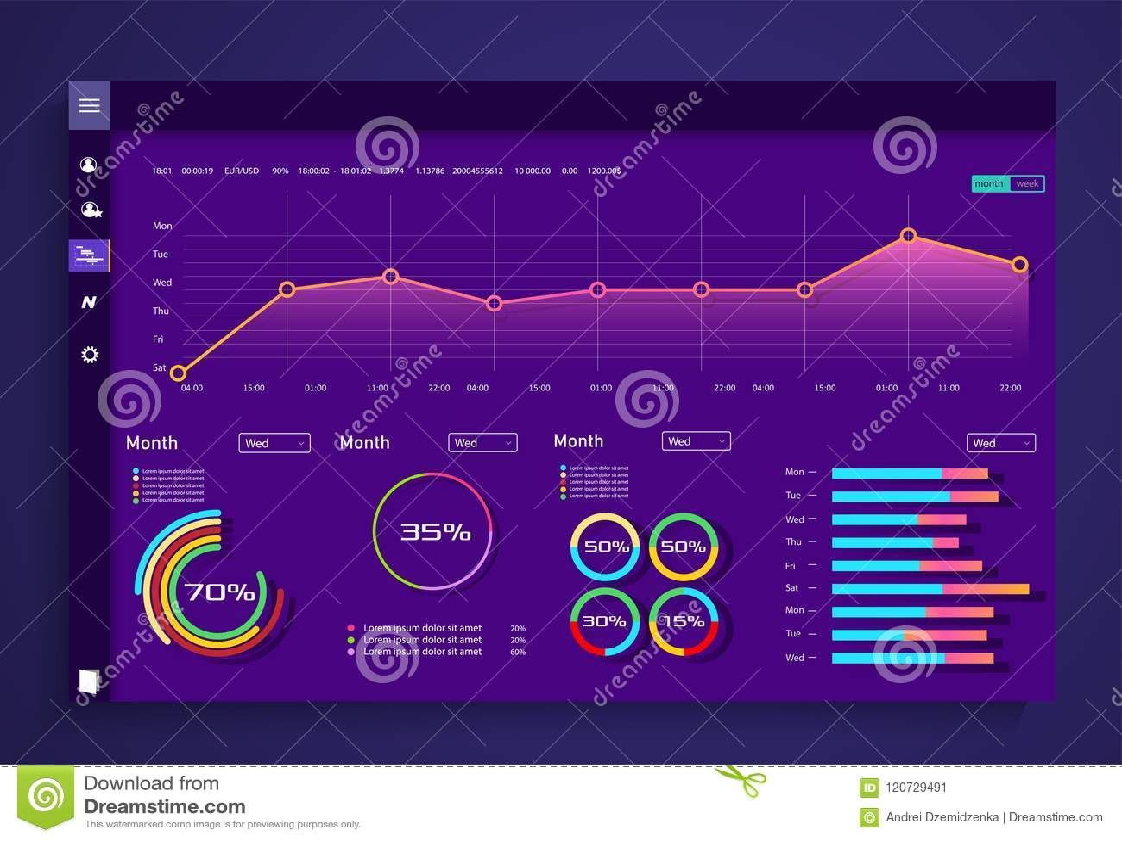 Infographic与舱内甲板的仪表板模板