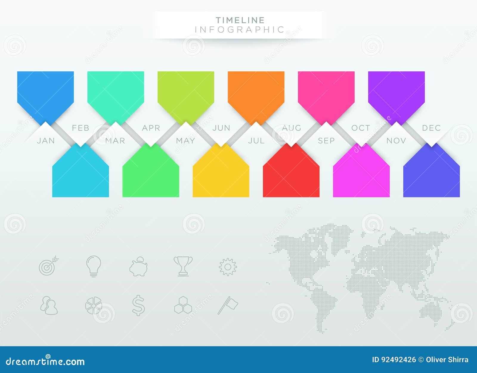 Infographic五颜六色的时间安排与年的12个月
