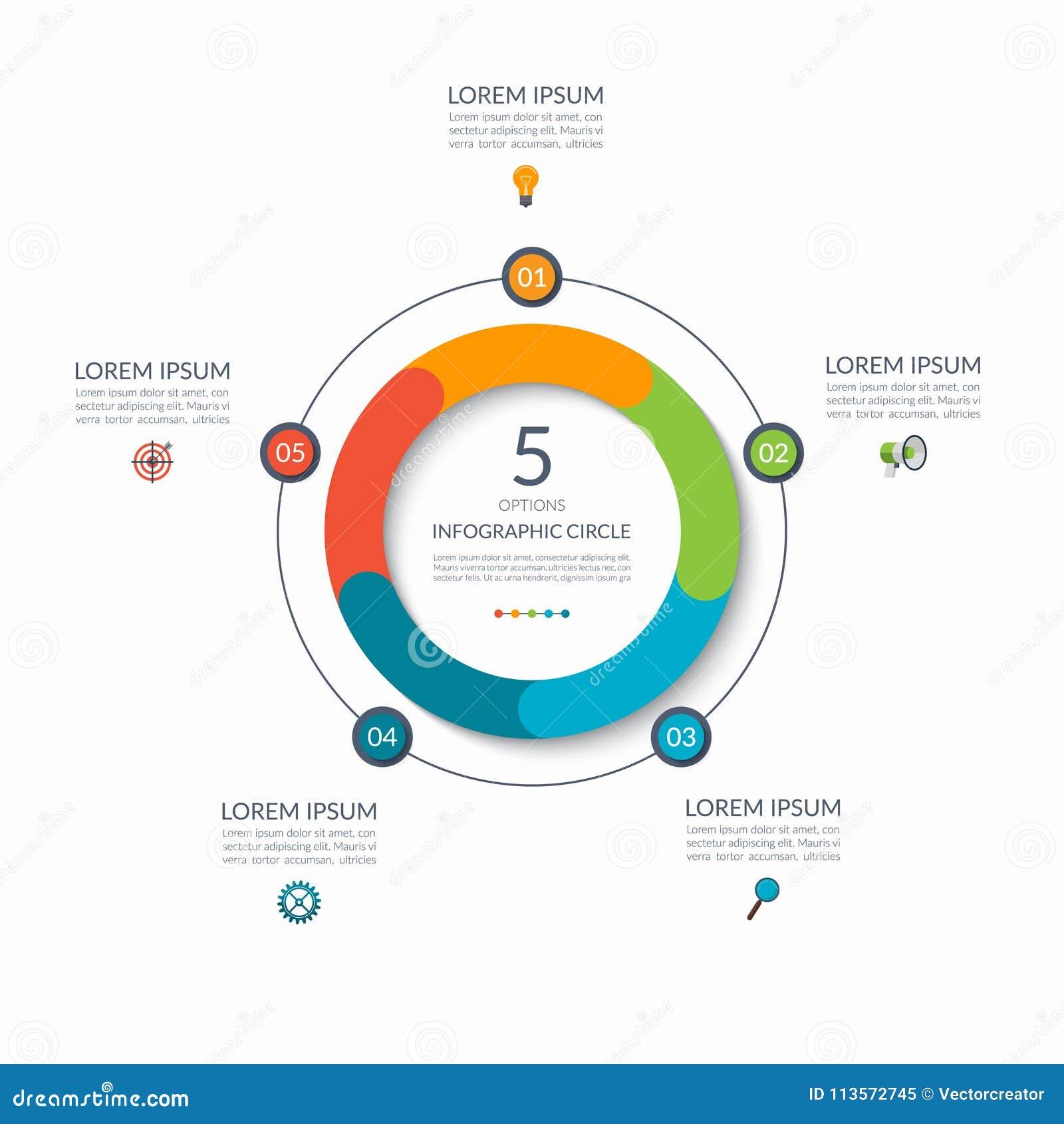 Infographic圈子 5个选择,步,零件 图的,图表,图企业概念 边界月桂树离开橡木丝带模板向量