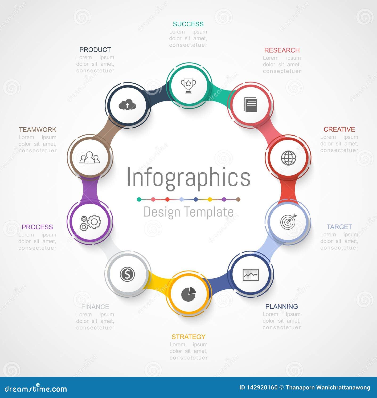 Infographic您的企业数据的设计元素与10个选择、部分、步、时间安排或者过程 向量