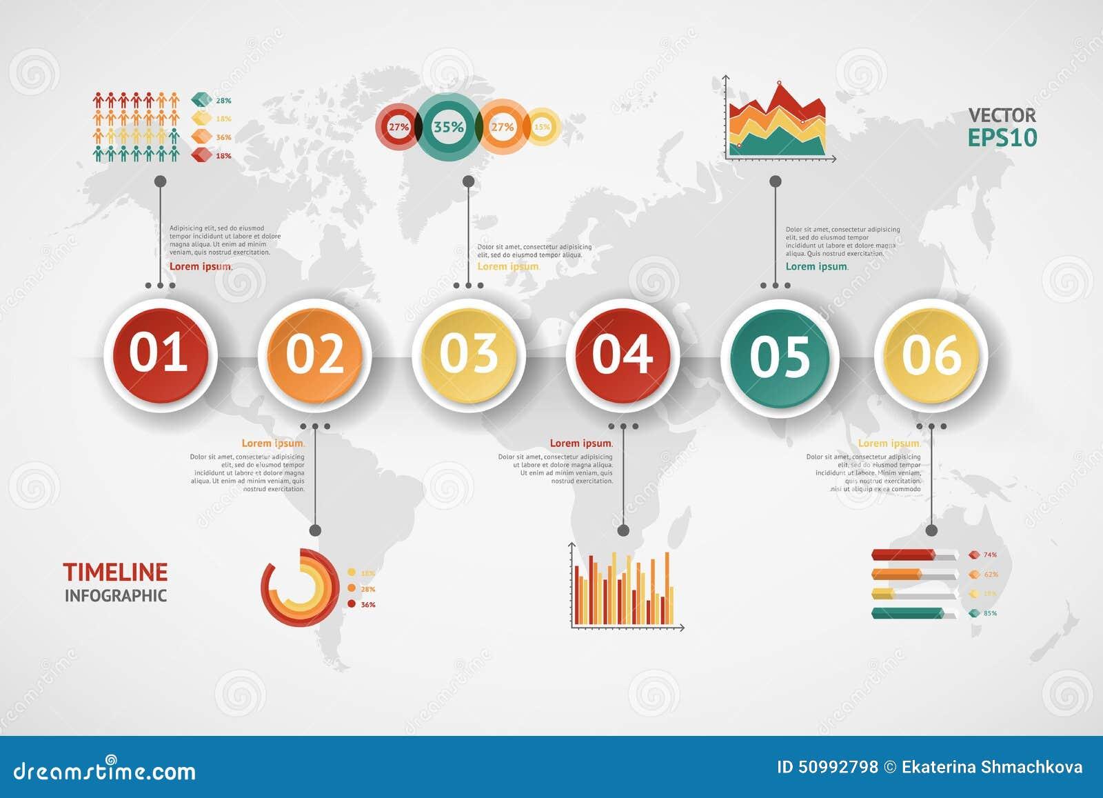 Infographic时间安排的传染媒介 例证映射旧世界