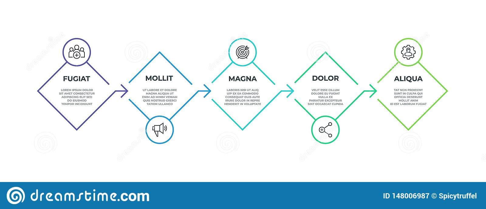 Infographic步的线 5步方形的简报图形表示法,企业生产力时间安排元素 传染媒介流程